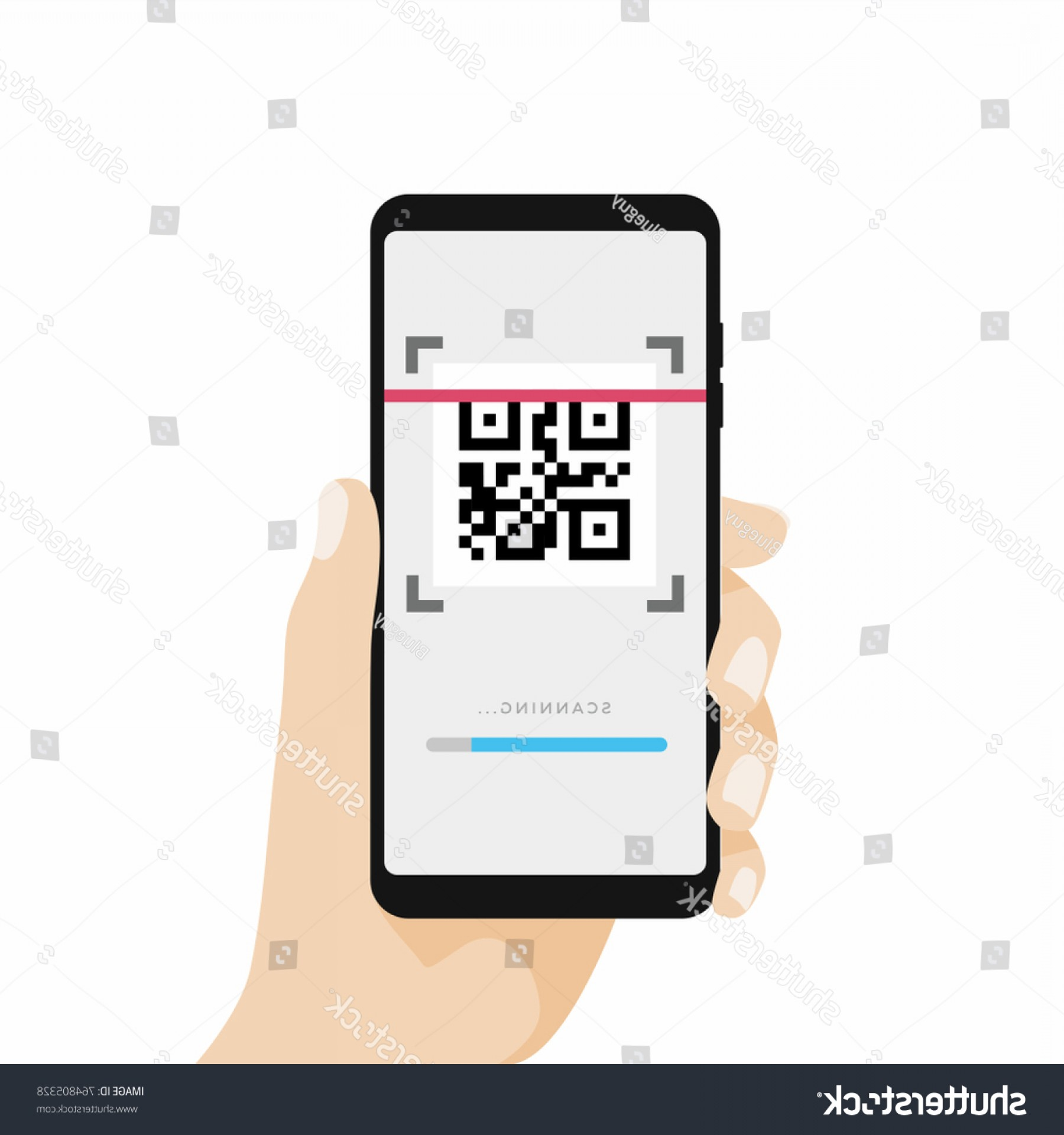 QR Mobile Phone Vector: Scan Qr Code Mobile Phone Scanning