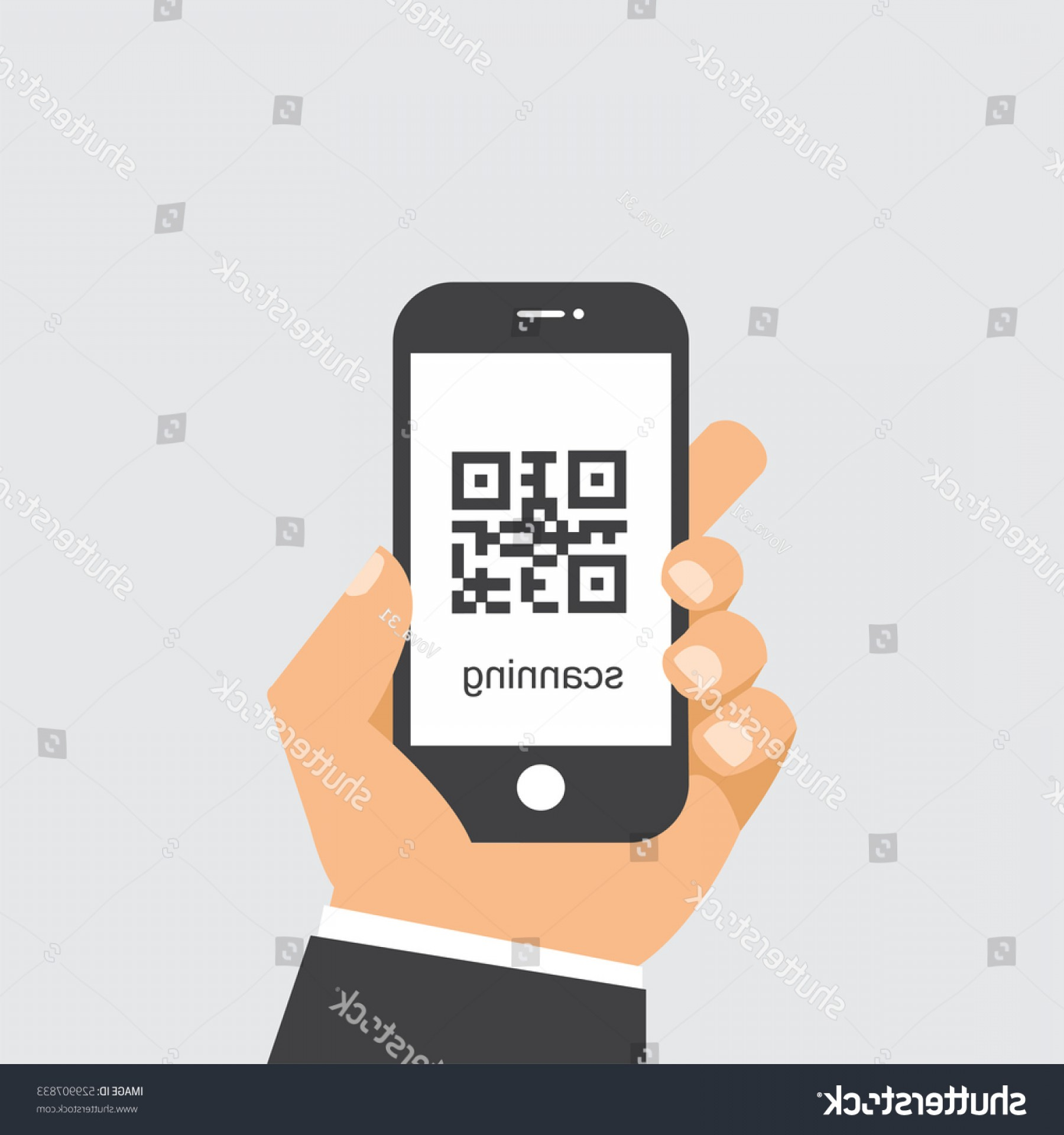 QR Mobile Phone Vector: Scan Qr Code Mobile Phone