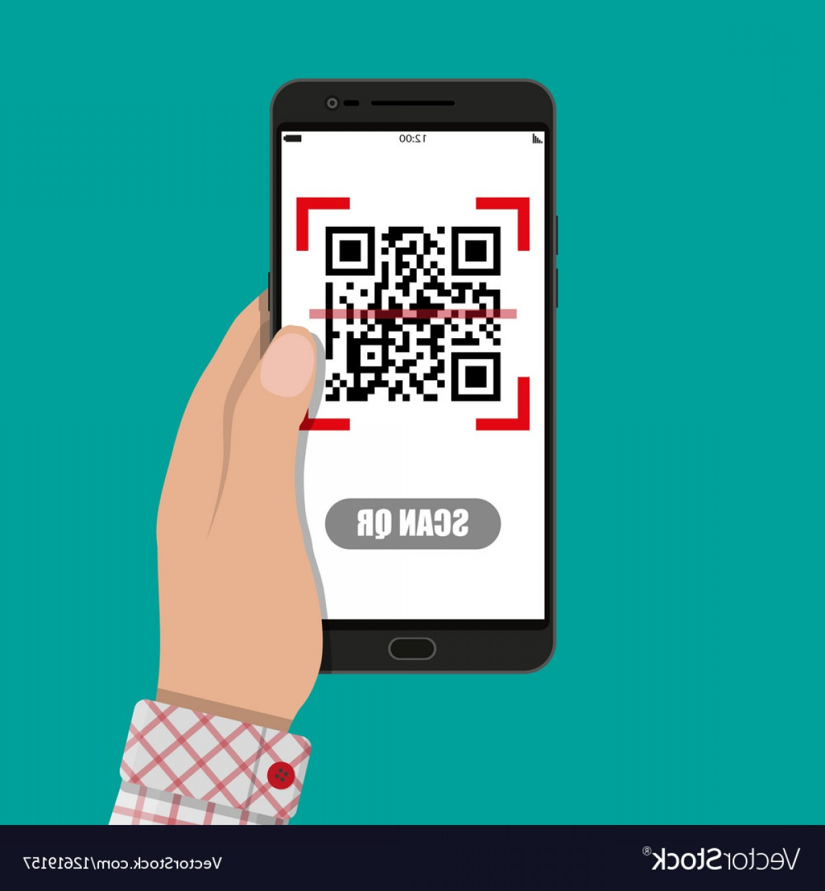 QR Mobile Phone Vector: Scan Qr Code To Mobile Phone Vector