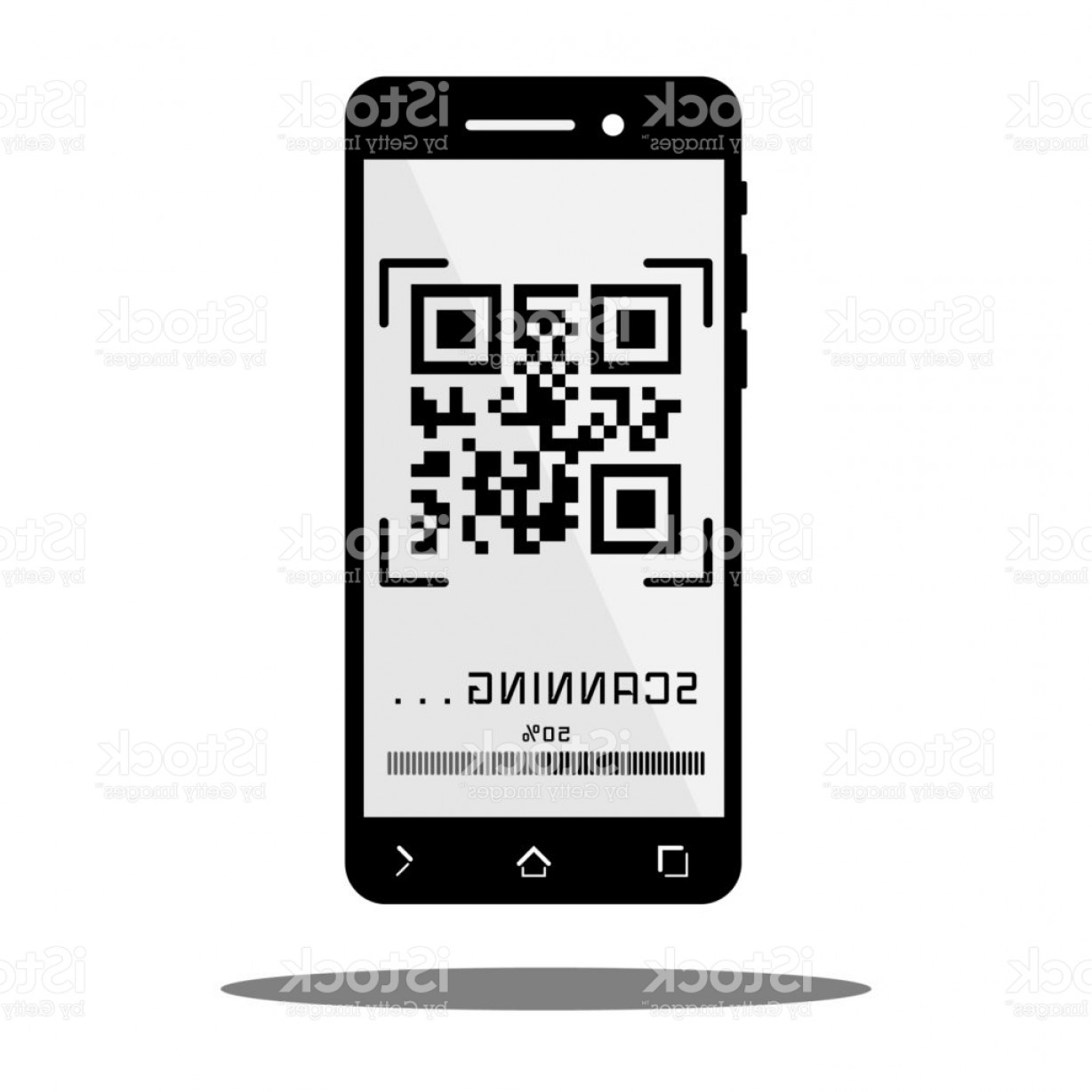 QR Mobile Phone Vector: Scan Qr Code With Black Mobile Phone Gm