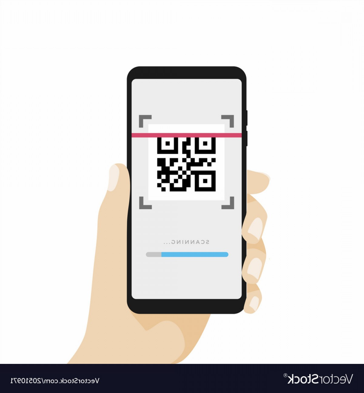 QR Mobile Phone Vector: Scan Qr Code With Mobile Phone Vector