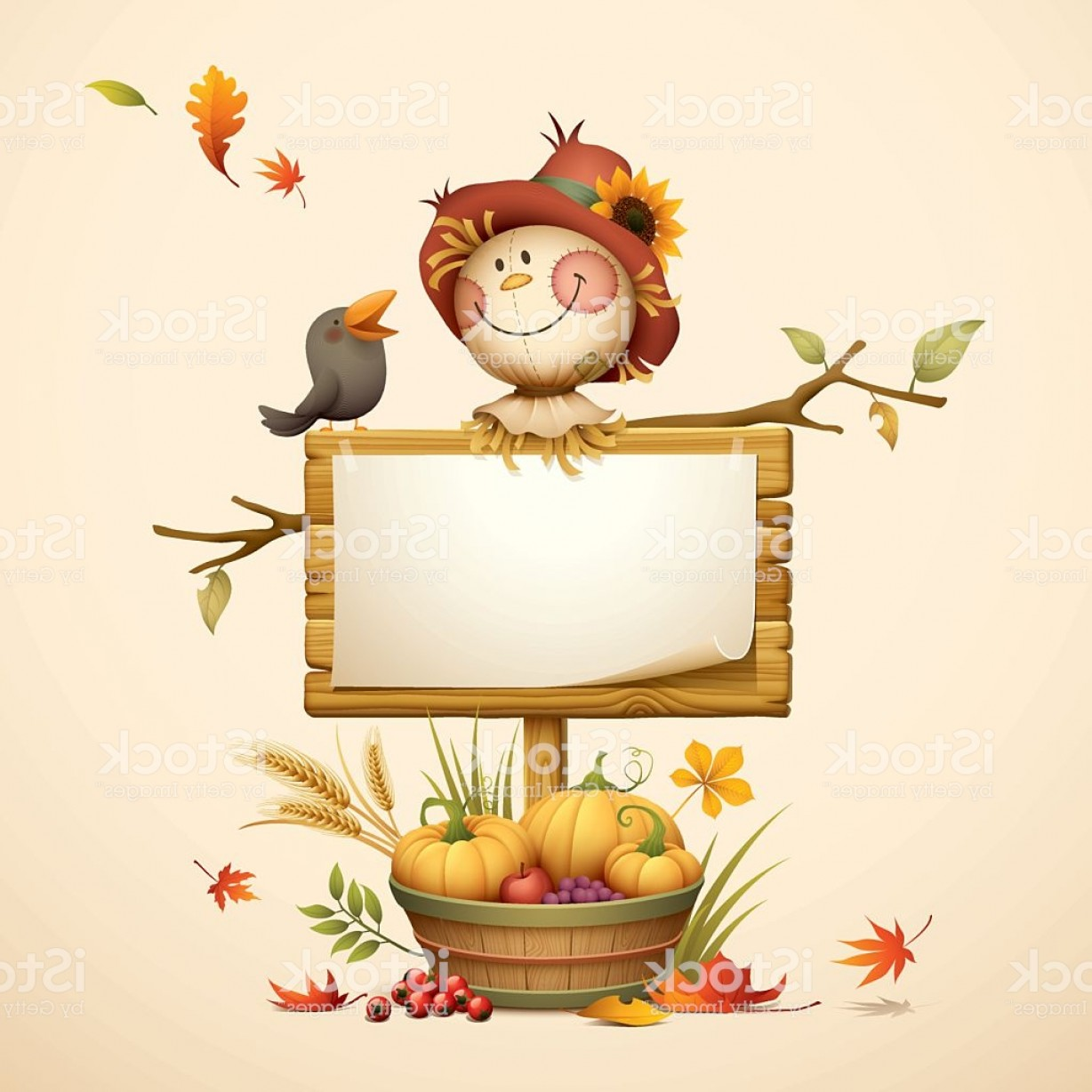 Scarecrow Vector Art: Scarecrow With Wood Sign And Harvest Basket Gm