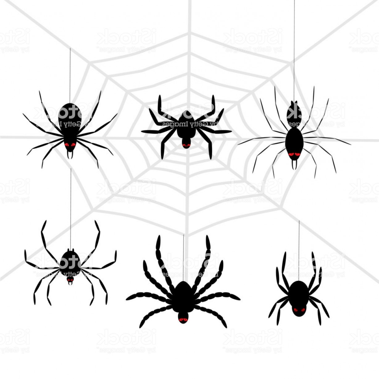 Easy Spider Vector Illustration: Scary Black Halloween Spider Set Gm