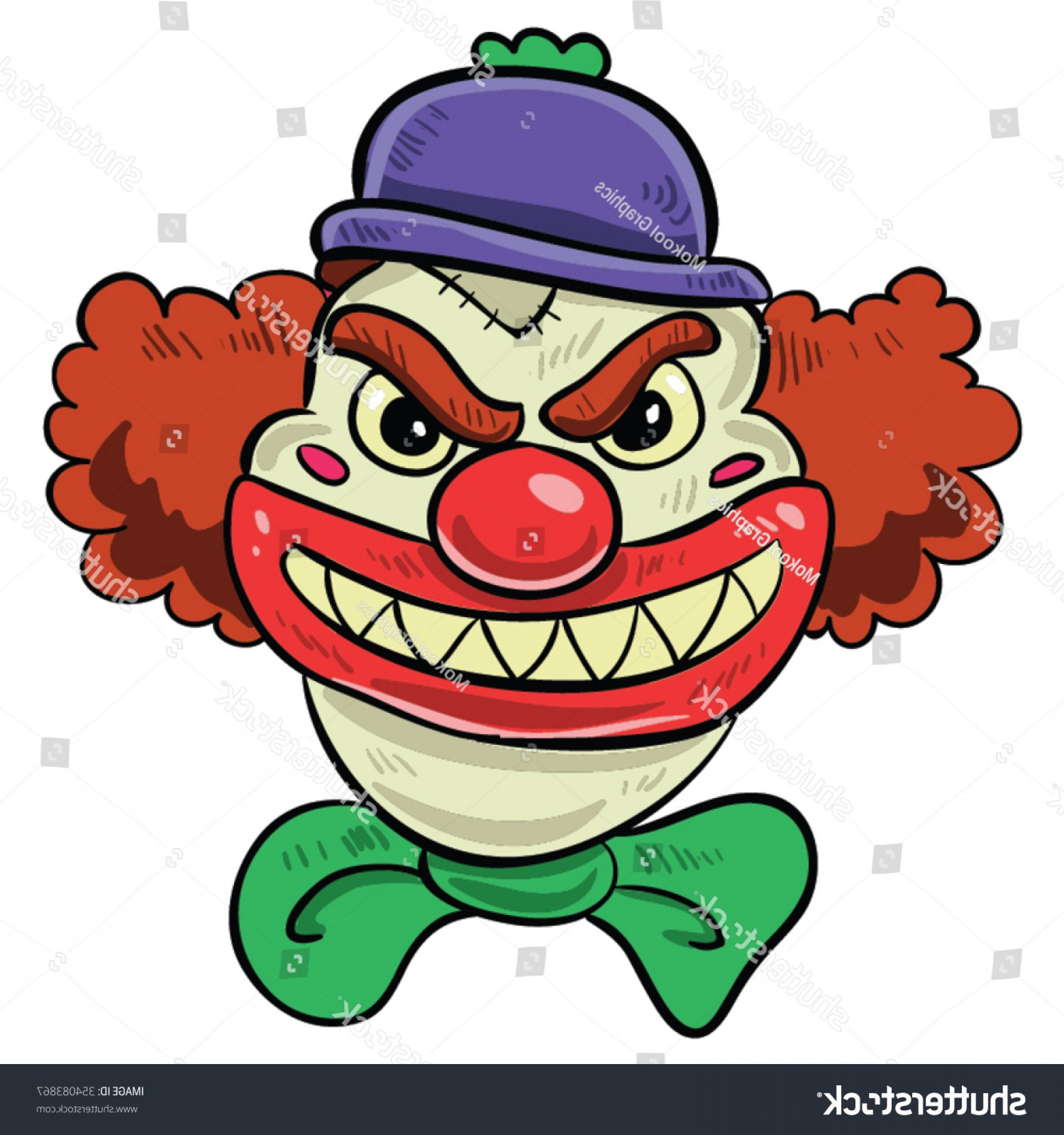 Creepy Clown Vector: Scary Clown Big Smile Red Hair