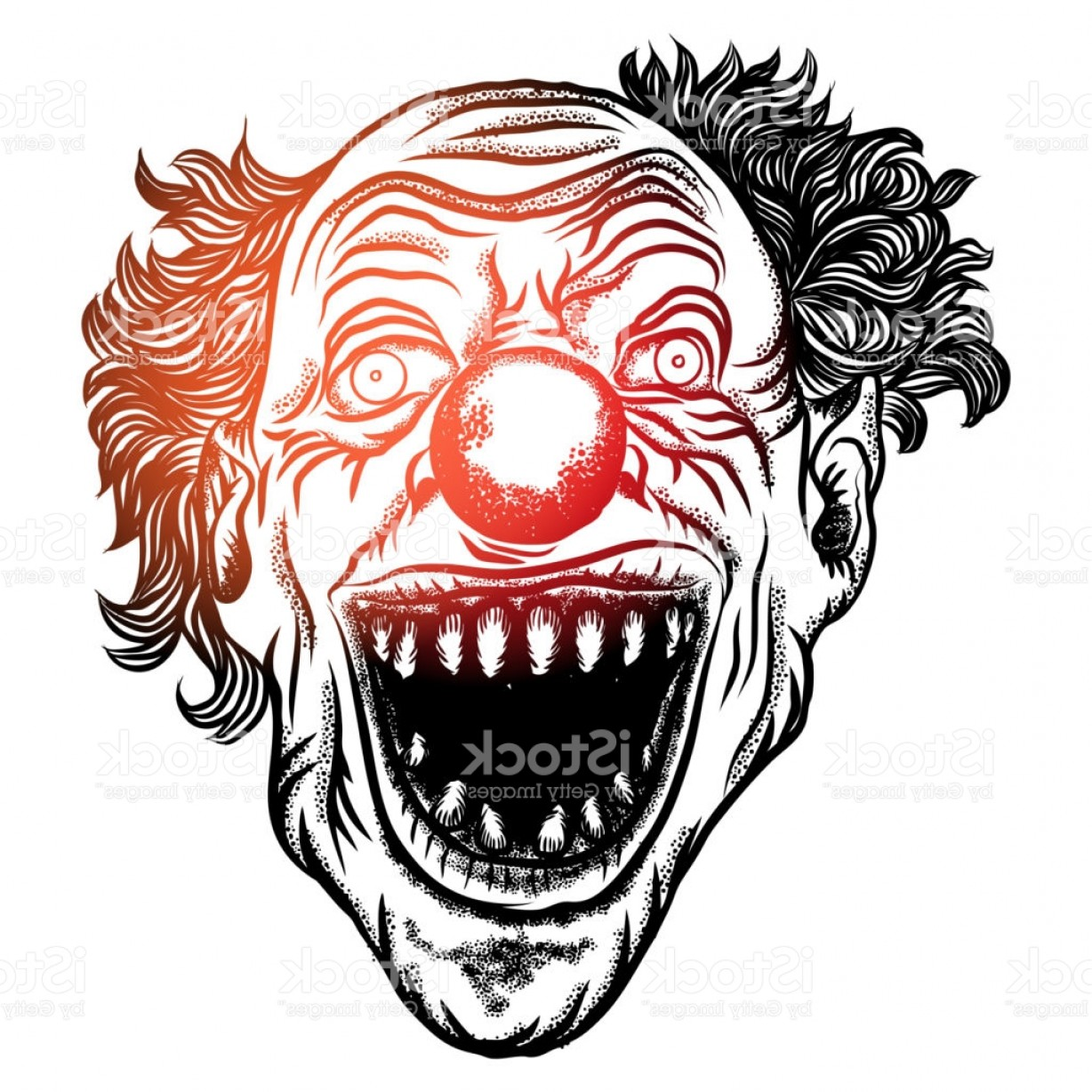 Joker Smile Vector Art: Scary Clown Head Concept Of Circus Horror Film Character Laughing Angry Insane Joker Gm