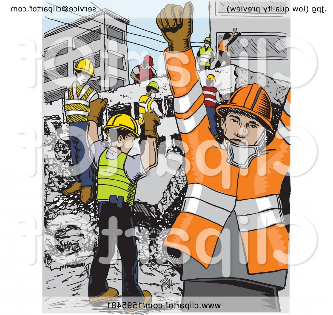 Earthquake Rescue Vector: Scene Of Rescue Workers After Aan Earthquake In Mexico