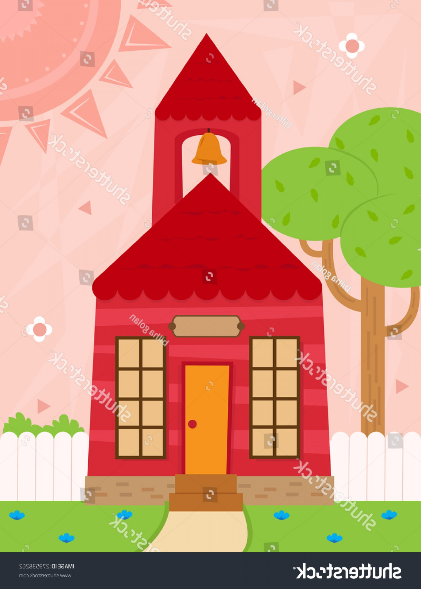Vector Clip Art Red Schoolhouse: School Cartoon Schoolhouse Bell White Fence