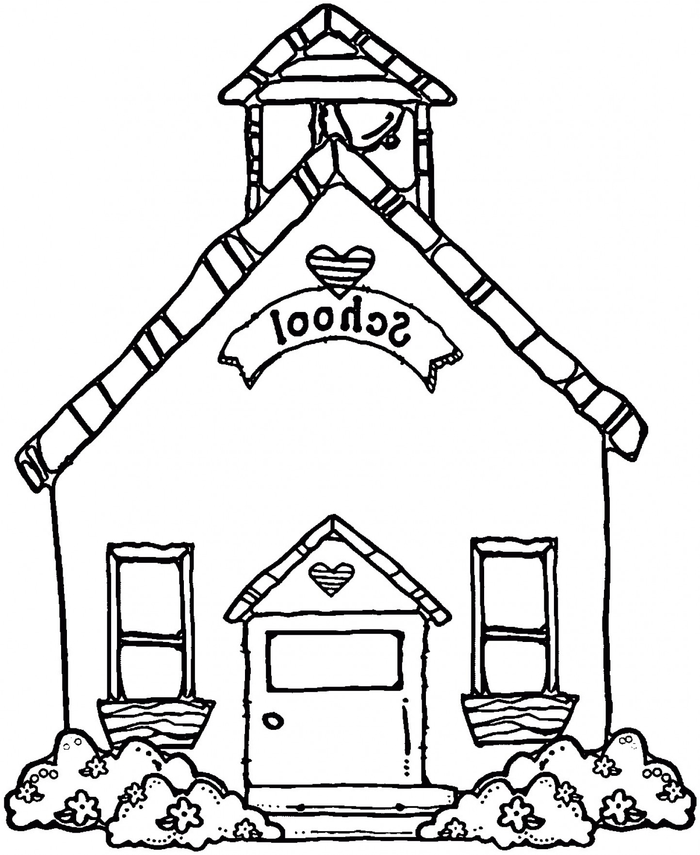 Vector Clip Art Red Schoolhouse: School House Coloring Page Cute Schoolhouse Free Clip Clipart