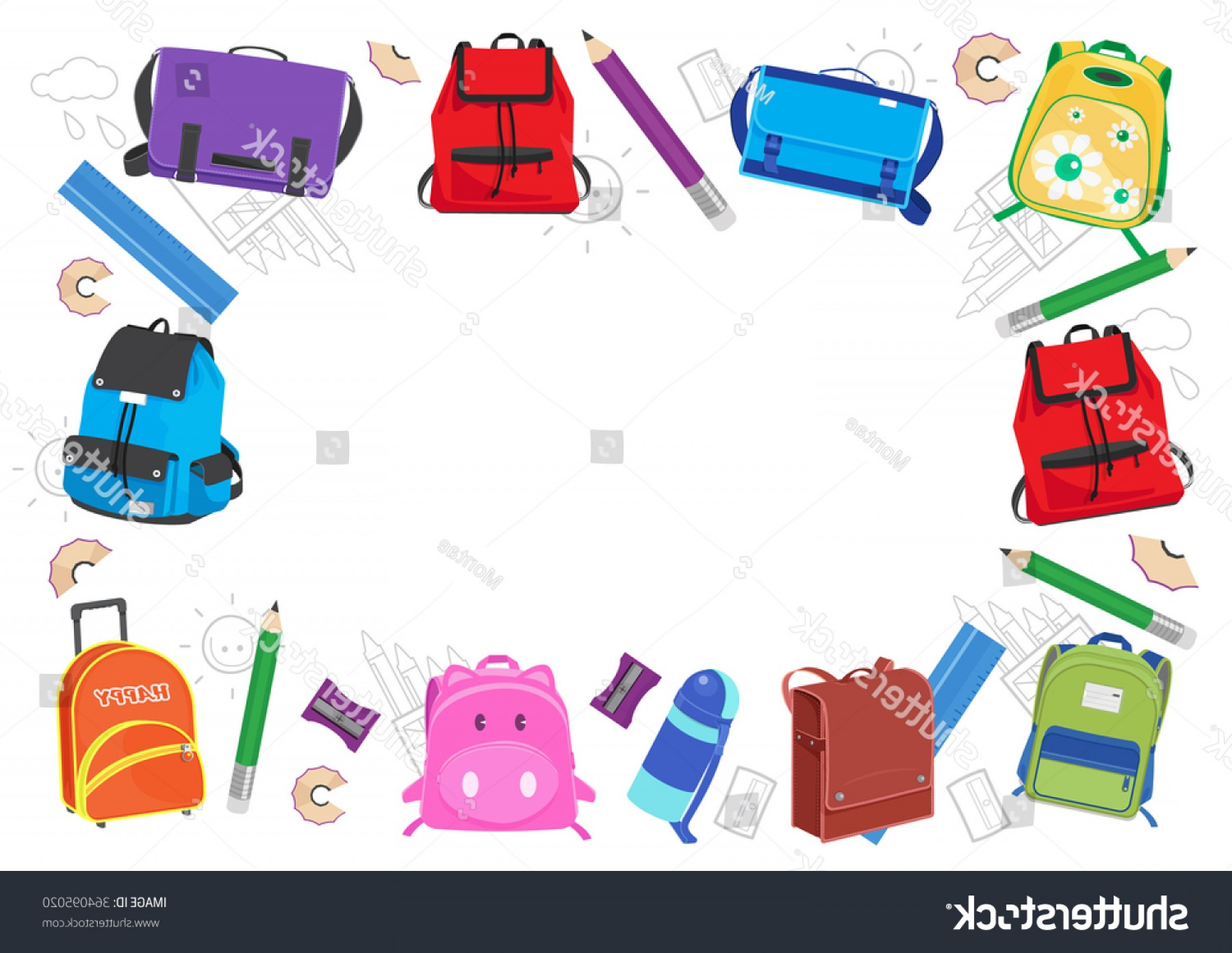 Individual School Supplies Vector: School Kids Frame Vector Illustration Back