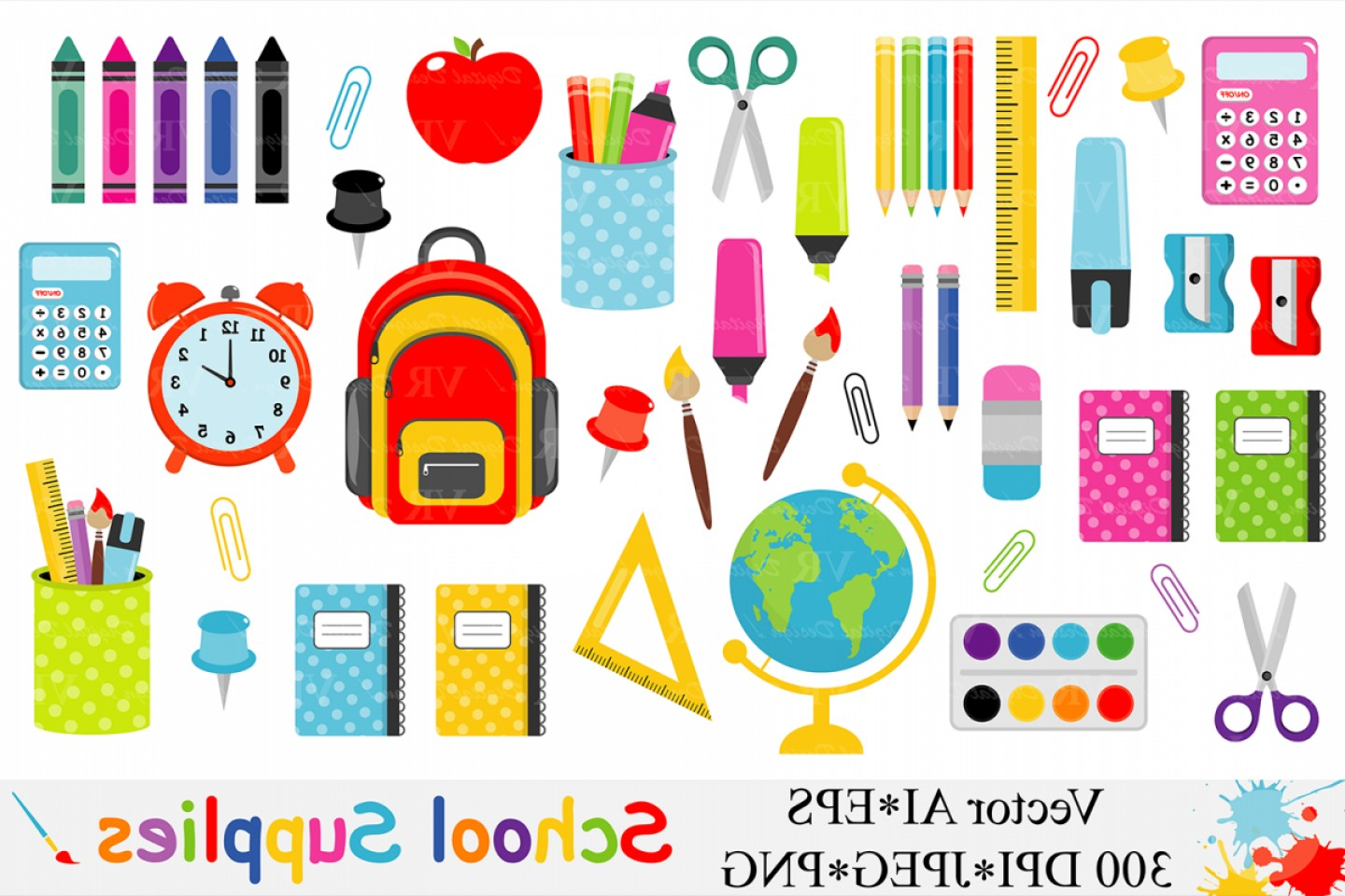 Supplies Vector Graphic: School Supplies Clipart Back To School Clipart Vector