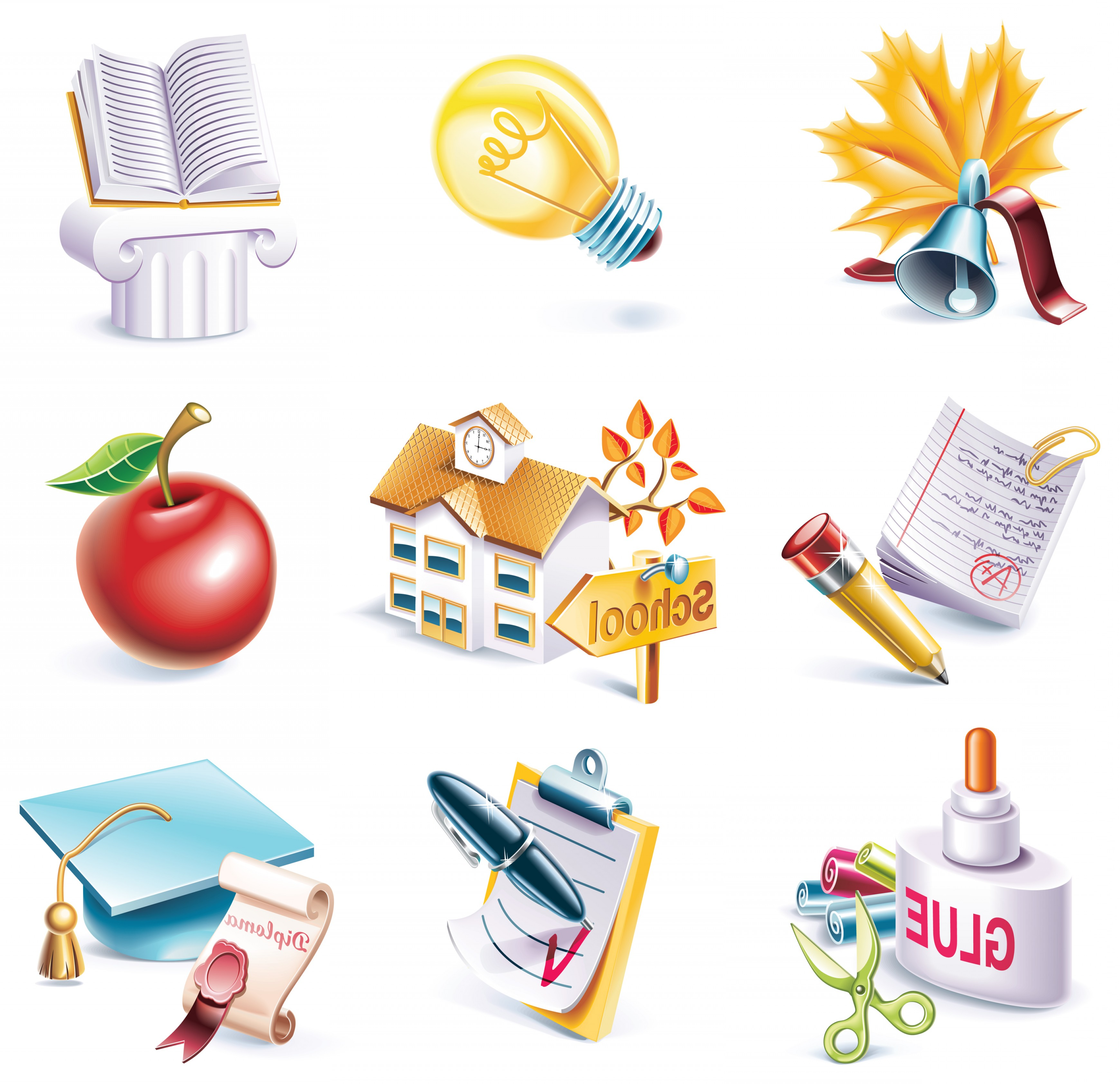 School Themed Vector: School Theme Icon Vector Material School