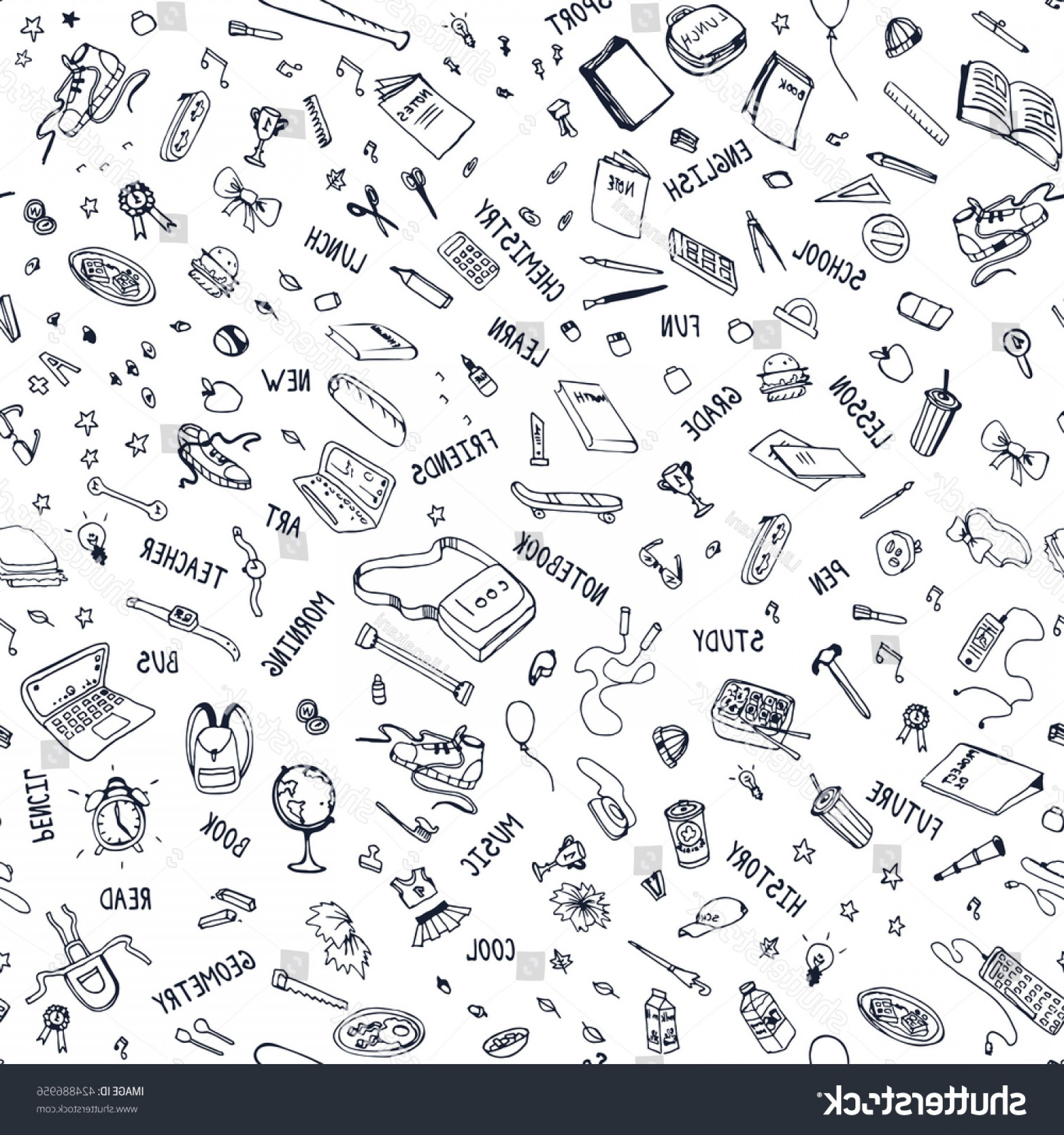 School Themed Vector: School Themed Seamless Pattern Items Doodle