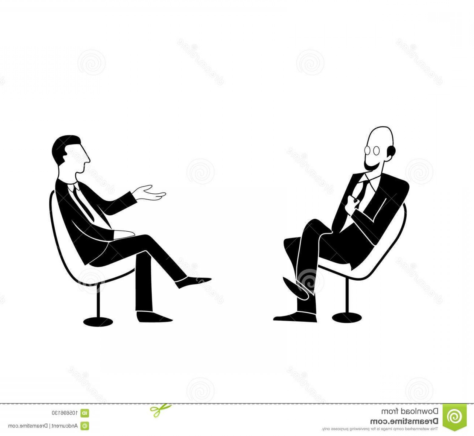 Talk Show Vector: Scientific Political Talk Show Vector Drawing Image Shows Interview Discussion Two Men Jackets Ties Sit Chairs Facing Image