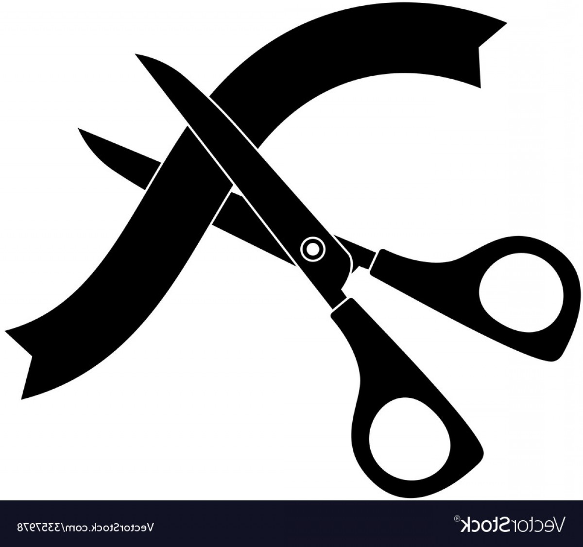 Cut Symbol Vector: Scissors Cutting The Ribbon Black Icon Vector