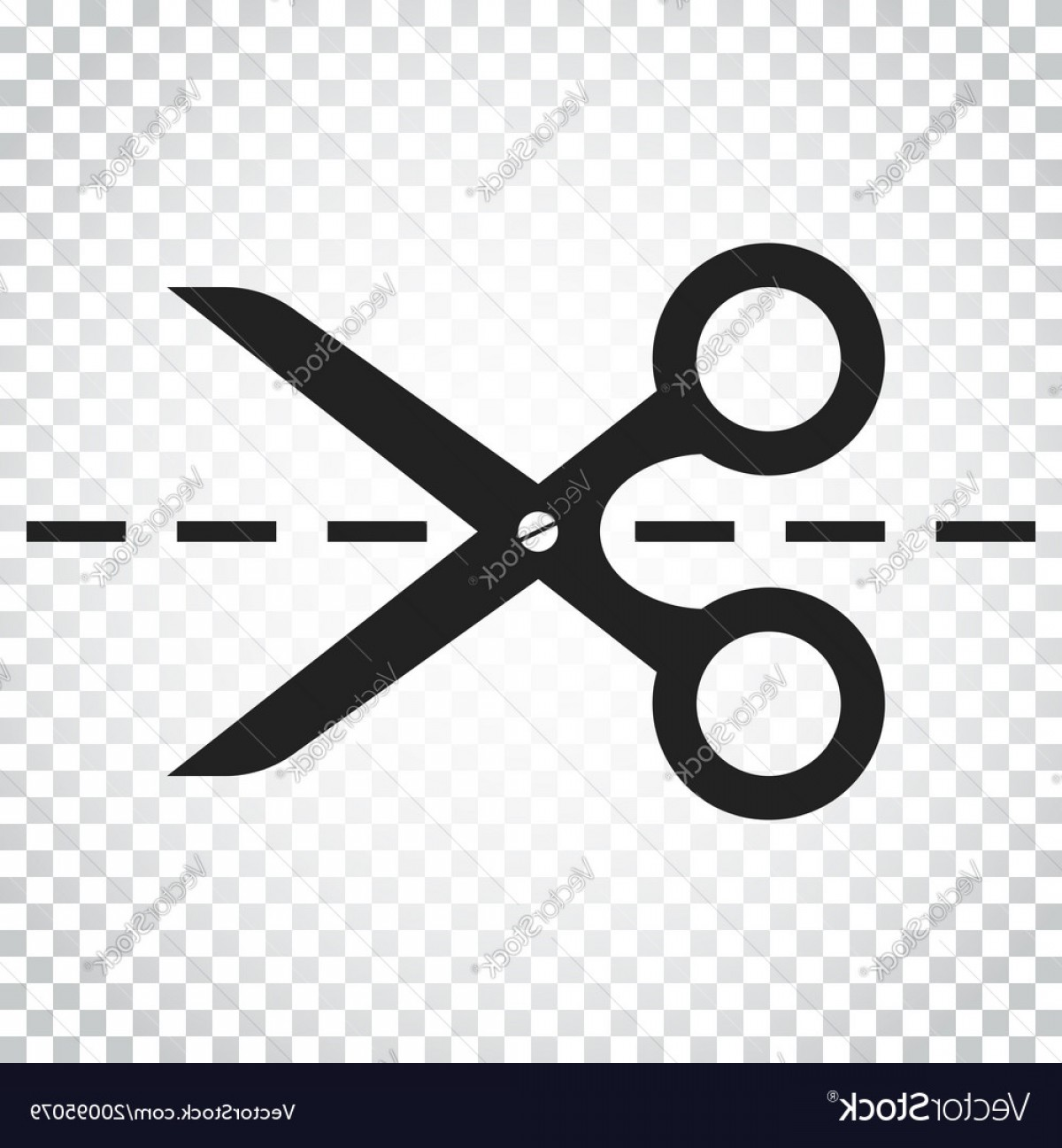Cut Symbol Vector: Scissors Icon With Cut Line Scissor Simple Vector