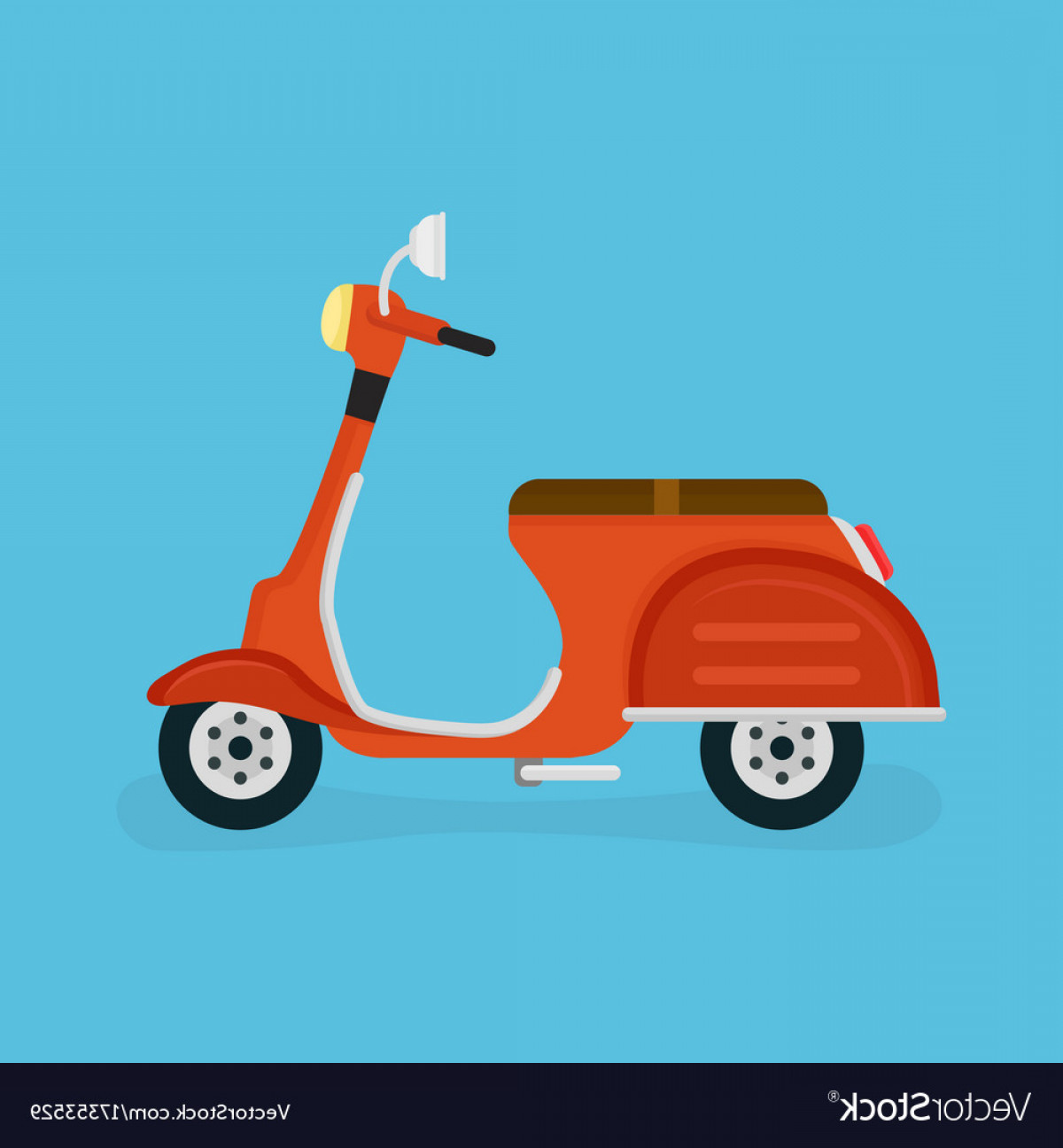 Flat Vector Motorcycle: Scooter Motorcycle Modern Flat Vector