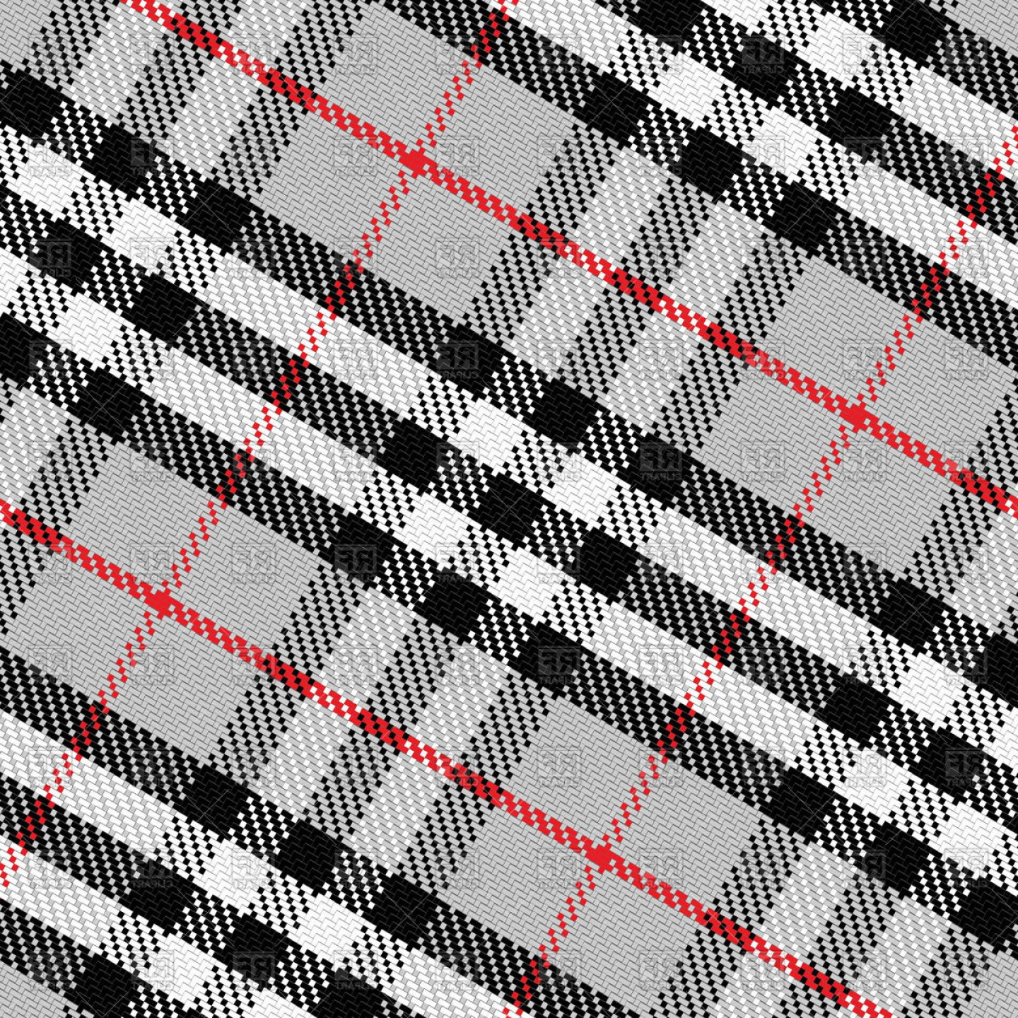 Red Black And White Vector Art: Scottish Tartan Black White Gray Red Vector Clipart