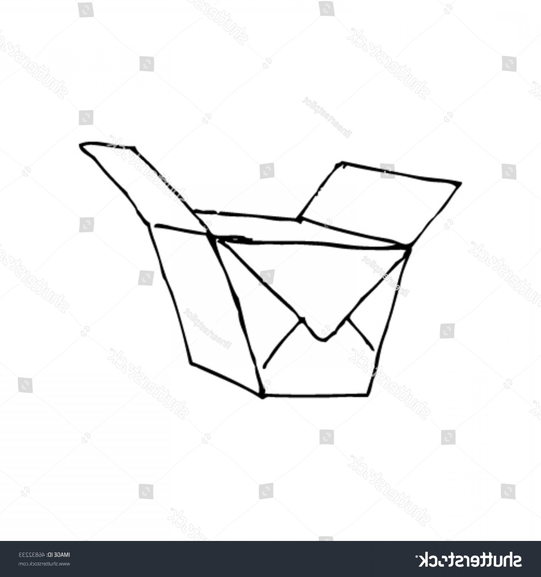 Scratch Y Drawing Vector: Scratchy Ink Drawing Empty Noodle Box