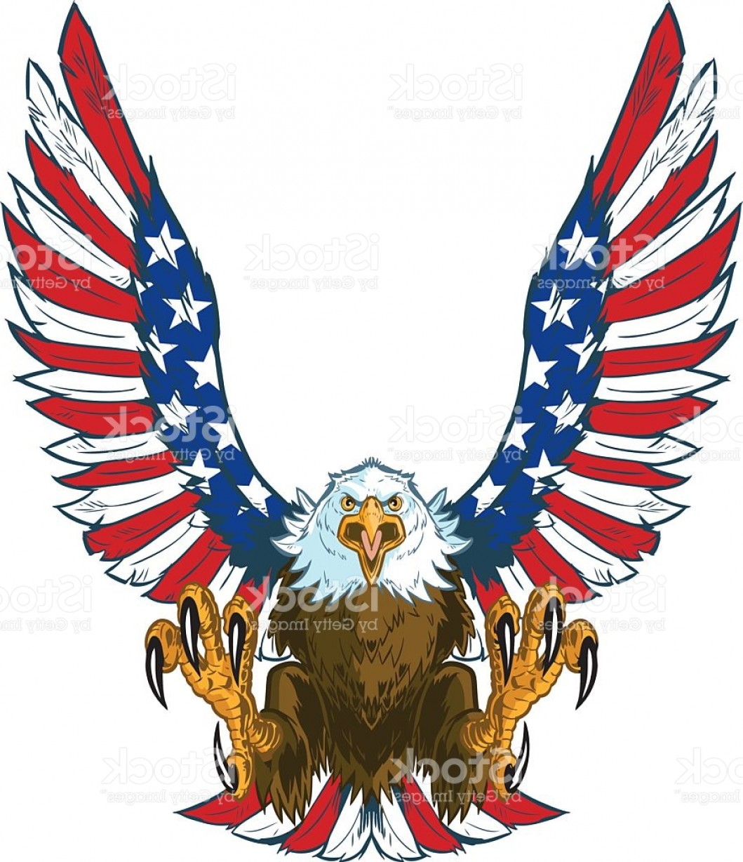 Patriotic Bald Eagle Vector: Screaming Eagle With American Flag Wings Vector Clip Art Gm