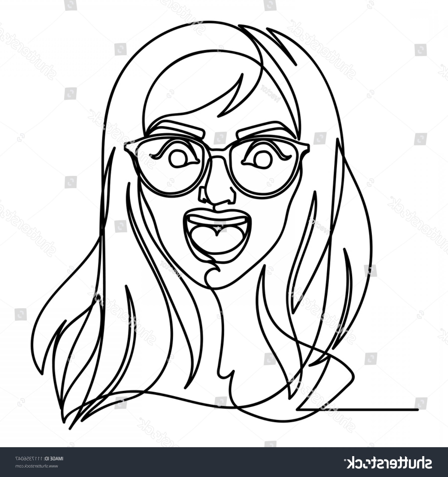 Woman Silhouette Vector Face Expression: Screaming Woman Eyeglasses One Line Art
