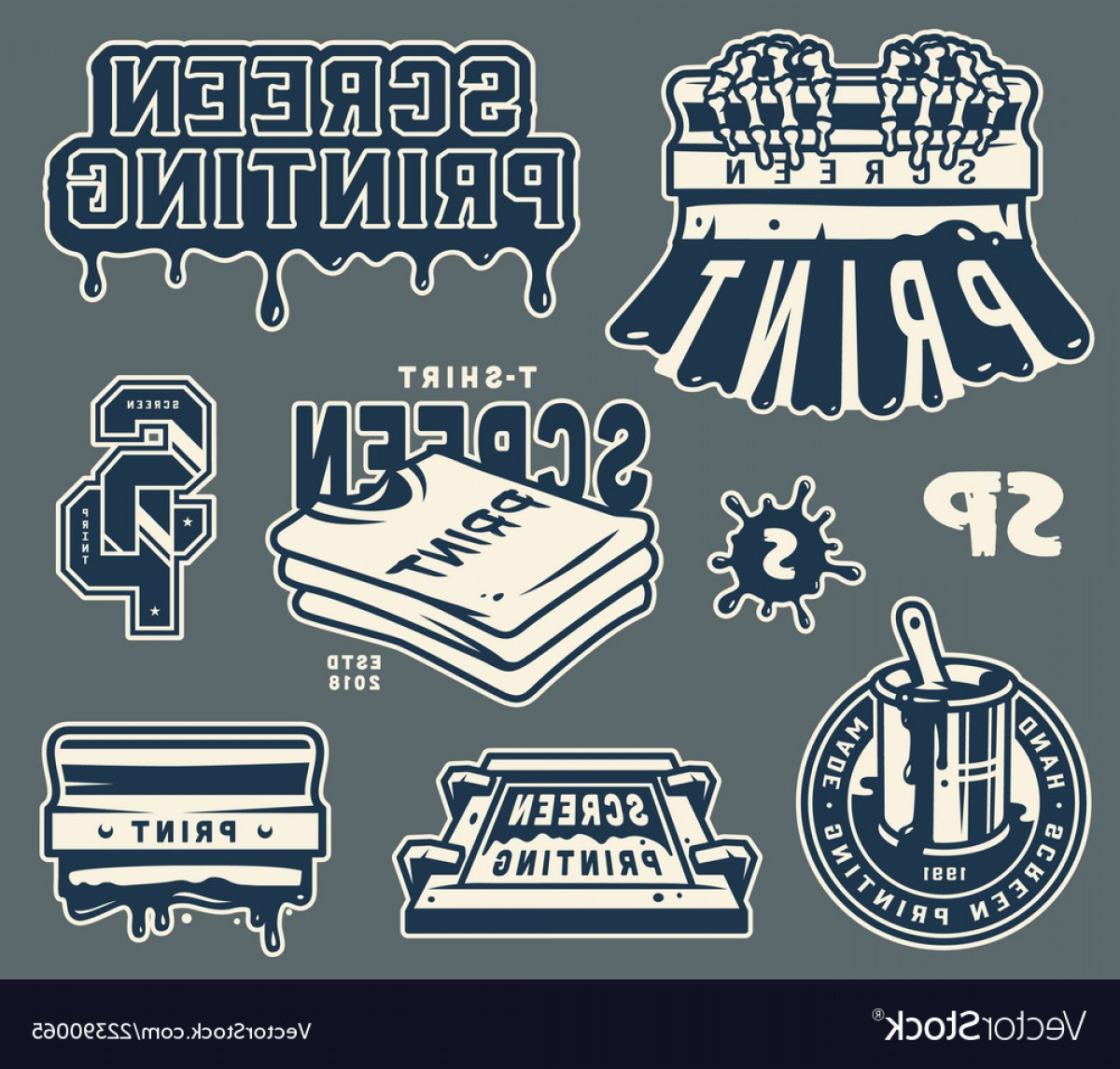 Screen Printing Equipment Vector: Screen Printing Elements Collection Vector