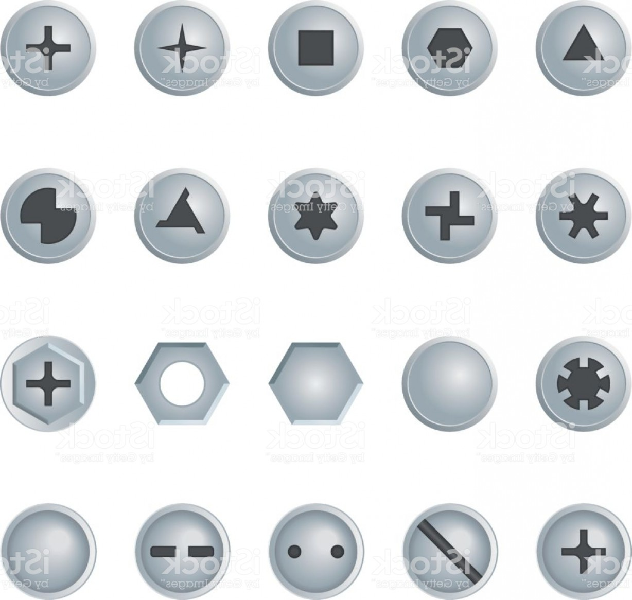 Screw Bolt Head Vector Art: Screw And Bolt Heads Set Isolated Vector Design Elements Gm