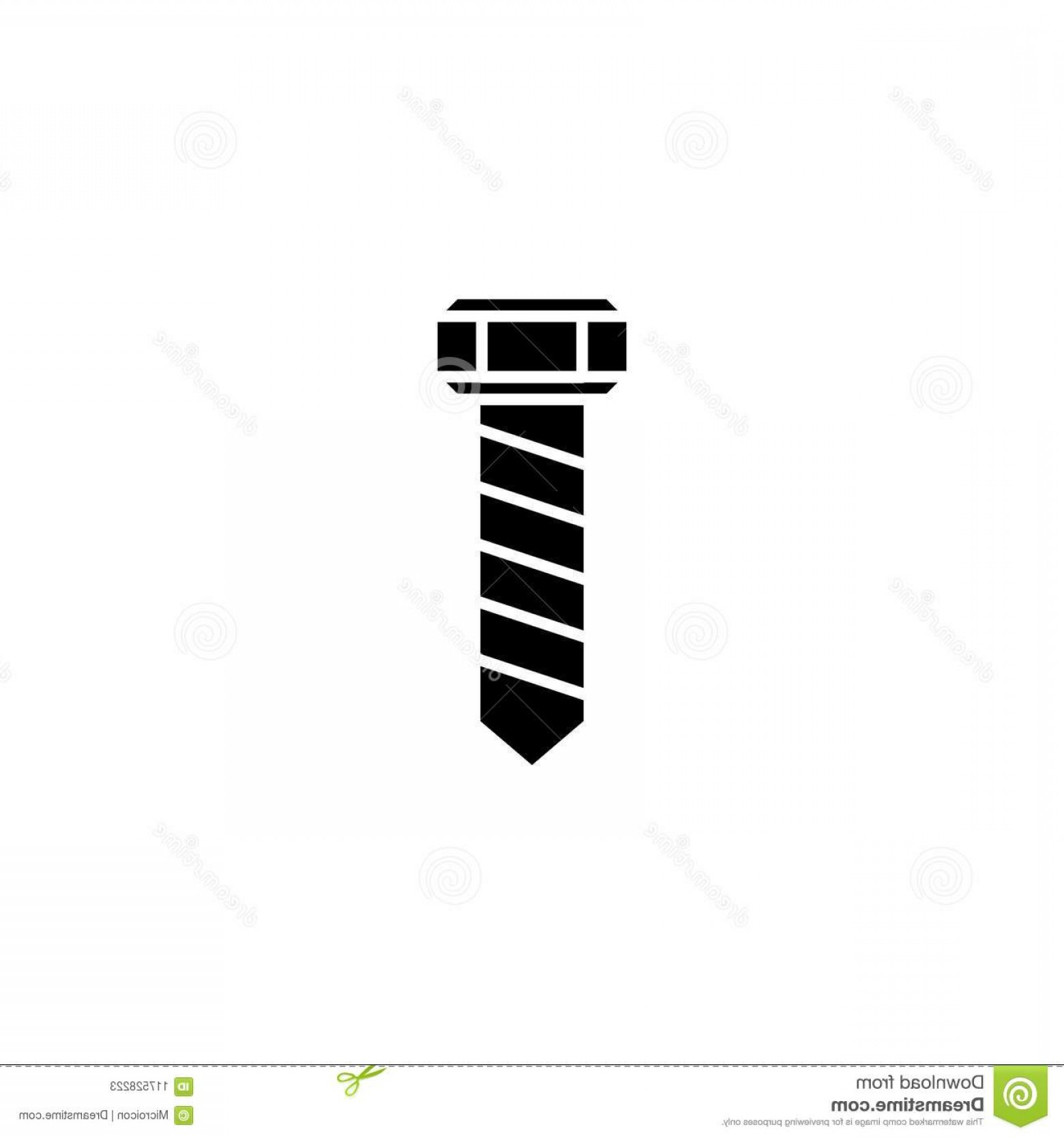 Screw Vector: Screw Bolt Black Icon Concept Flat Vector Website Sign Symbol Illustration Image