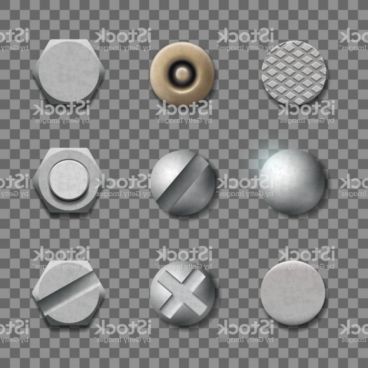 Bolt Head Vectors Gray: Screw Head Bolt Nail Isolated On Transparent Background Gm