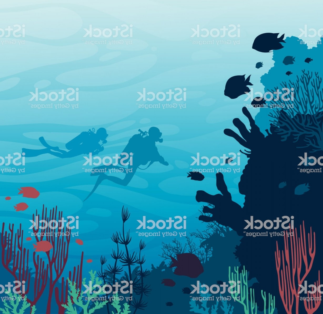 Underwater Sea Vector Art: Scuba Divers Coral Reef Fish And Underwater Sea Gm