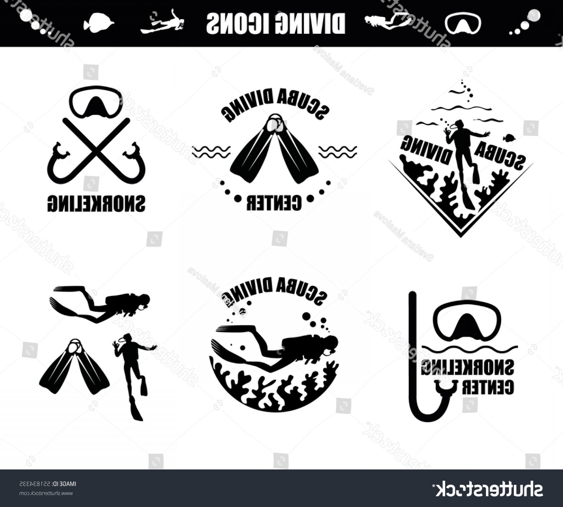 Dive Mask E Vectors: Scuba Diving Icons Corals Diver Mask