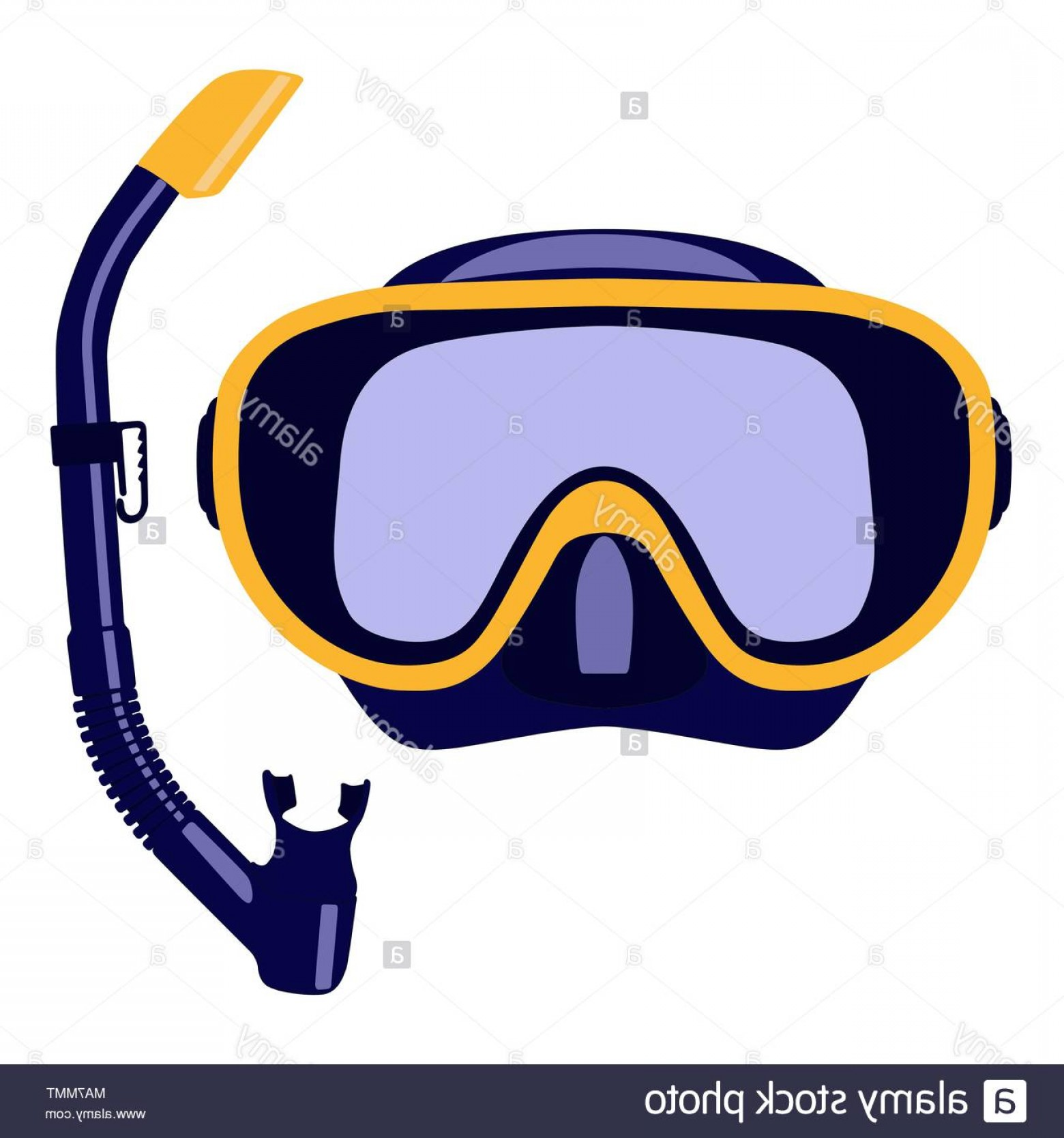 Dive Mask E Vectors: Scuba Mask And Snorkel Isolated On White Background Vector Illustration Image
