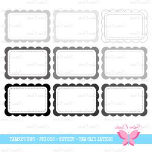 Black Scalloped Border Vector: Scallop Frame Tag Clipart Set Digital