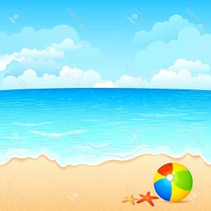 Ocean Water Clip Art Vector: Scene Clipart Vector Illustration Of Colorful Ball And Shell On Sea Beach Stock Meer