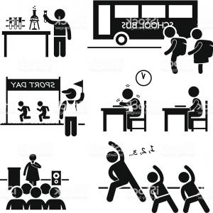 Vector Stick People School: School Activity Event Student Stick Figure Pictogram Icon Clipart Gm