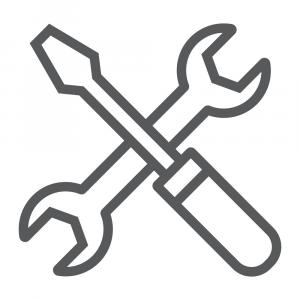 Repair Icons Vector: Screwdriver And Wrench Line Icon Settings Repair Vector