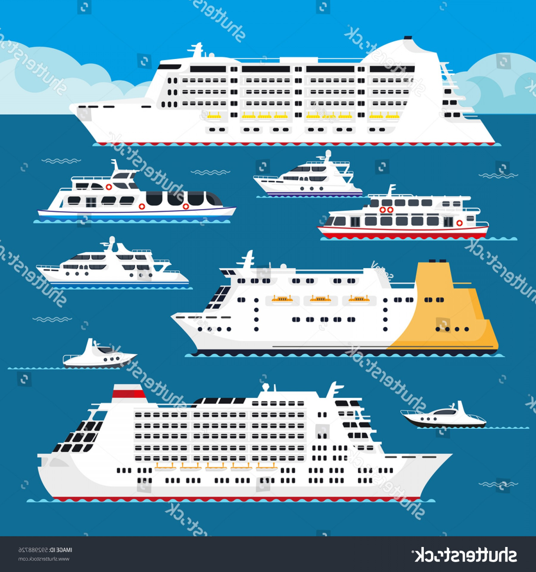 Waves With Cruise Ship Silhouette Vector: Sea Cruise Liners Types Passenger Ship