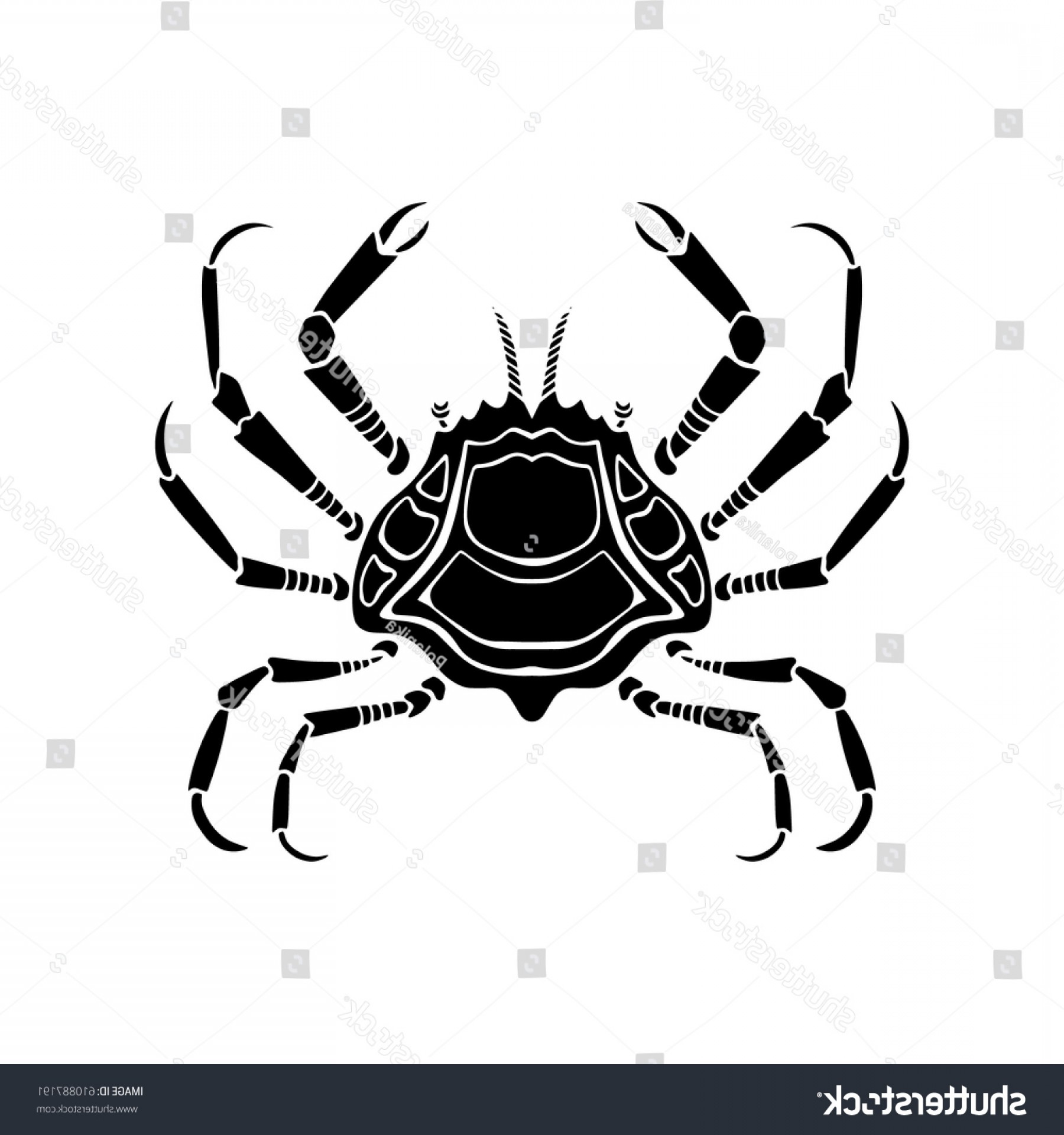 Crab Vector Black: Sea Label Crab Vector Monochrome Ocean