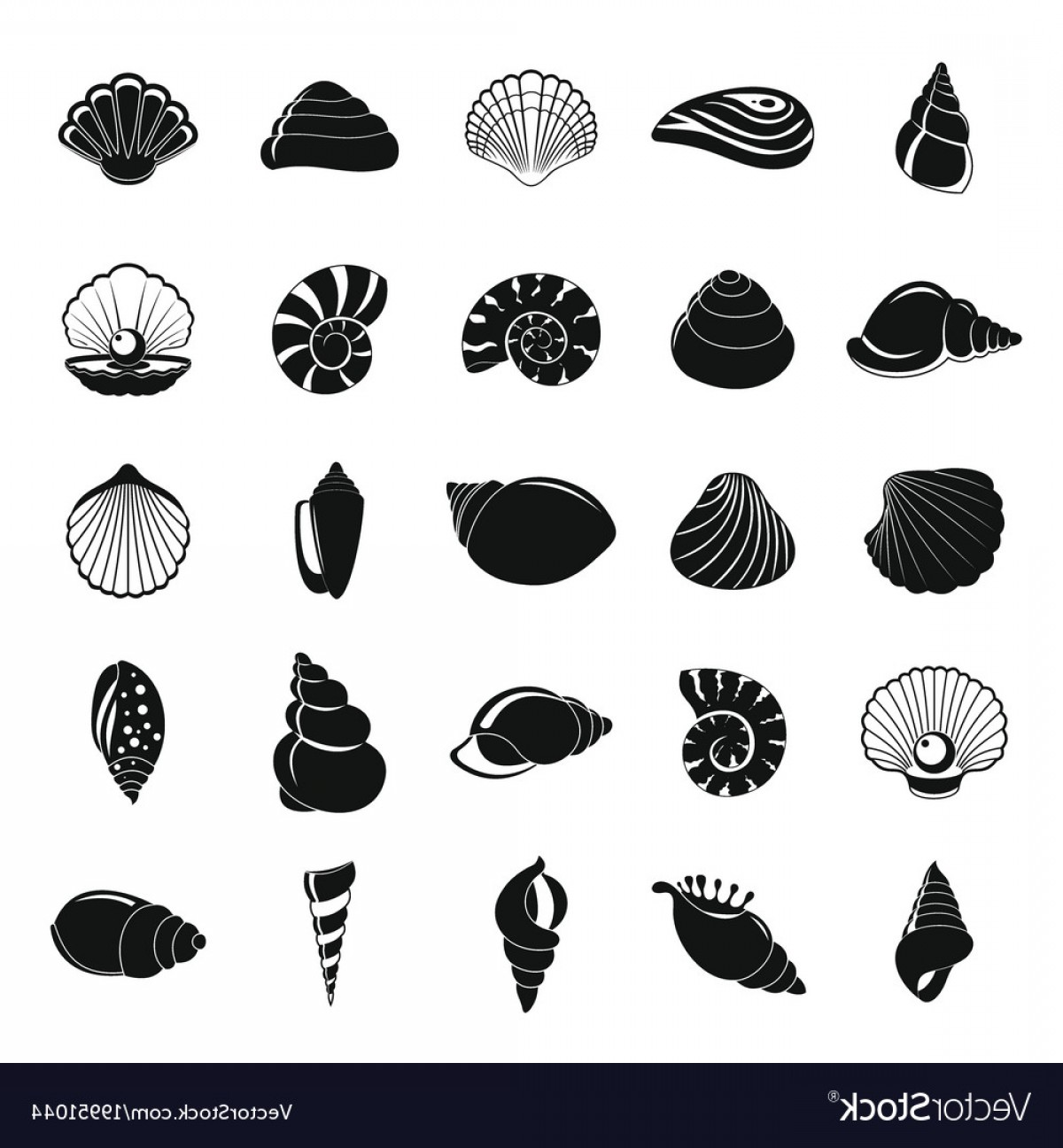 Shell Vector Icons: Sea Shell Icons Set Simple Style Vector