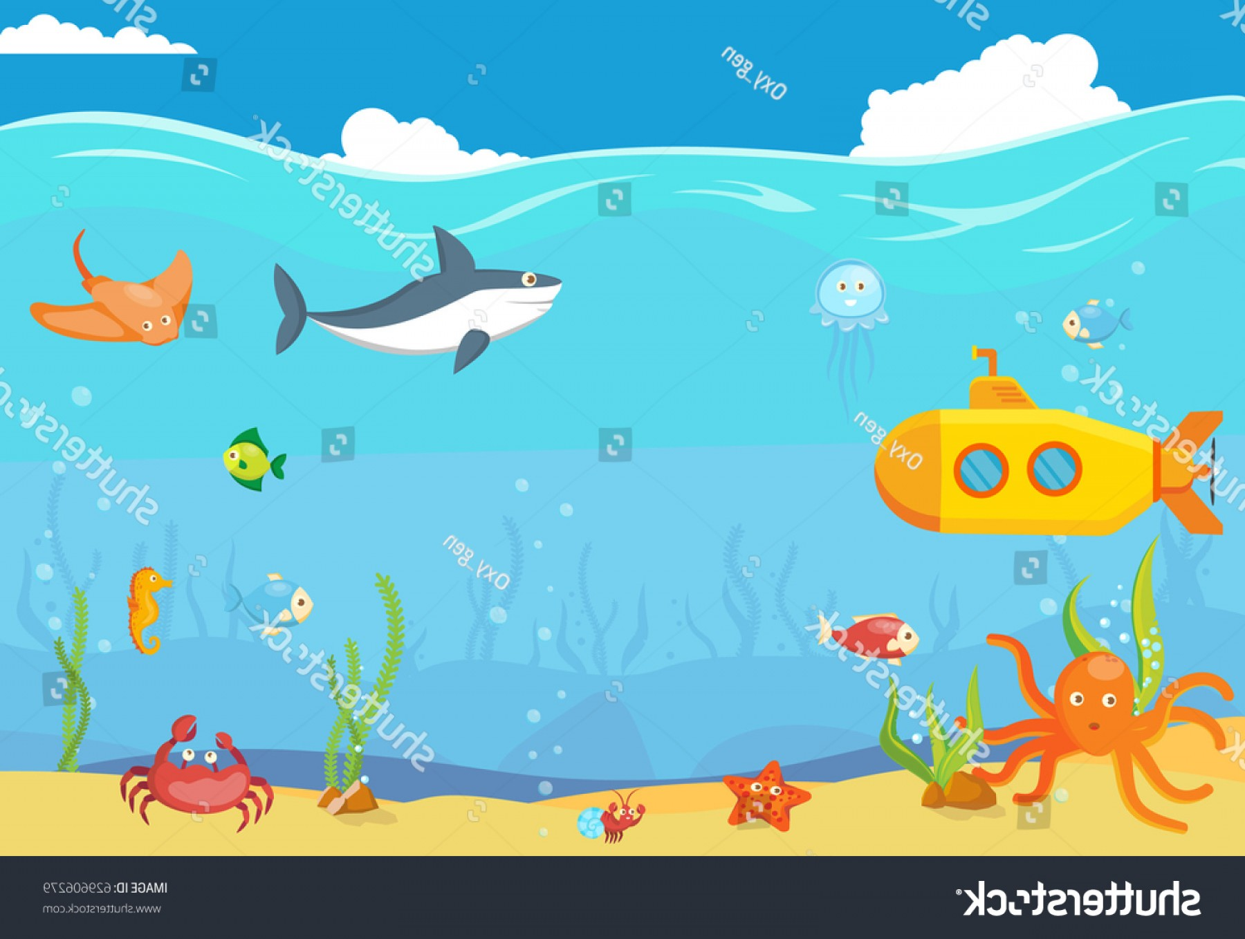 Underwater Sea Vector Art: Sea Underwater Blue Landscape Template Background