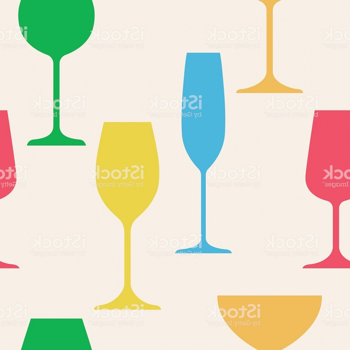 Cocktail Glasses Vector Art Decor: Seamless Abstract Background With Silhouette Of Wine Glasses Gm