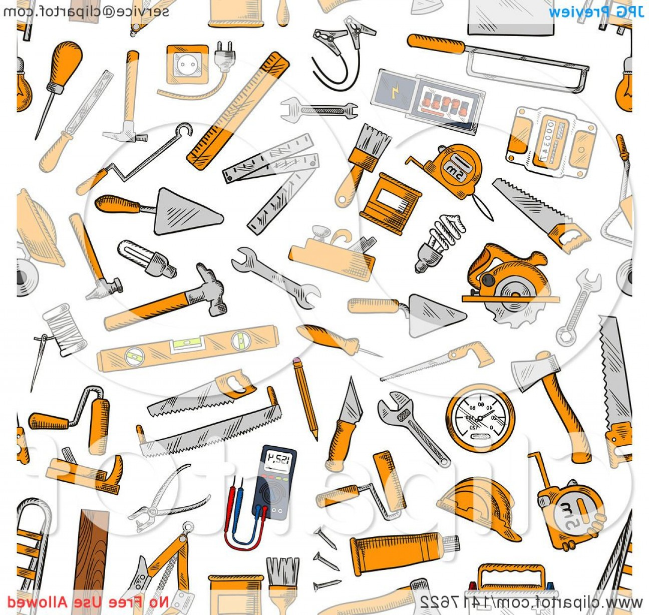 Vector Background Clip Art: Seamless Background Pattern Of Tools