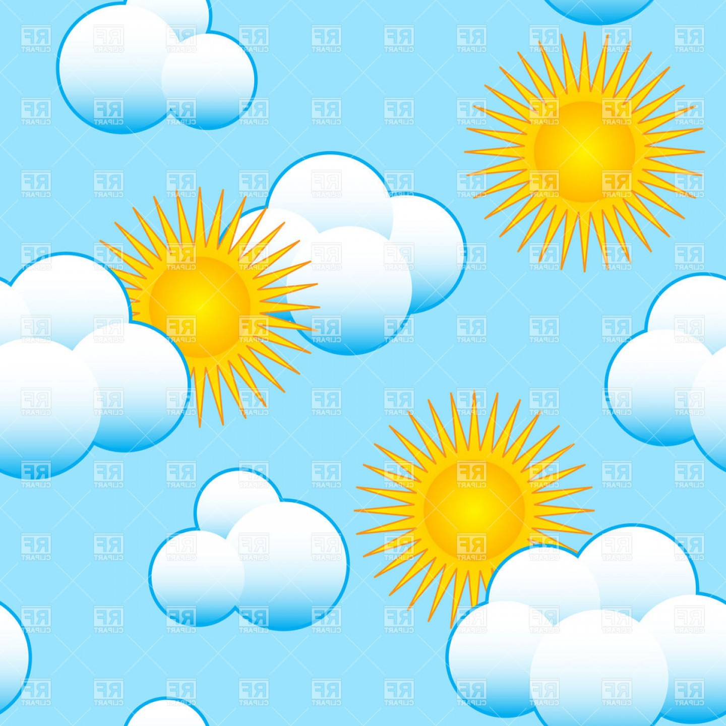 Blue Background Vector Cartoon Sun: Seamless Background With Cartoon Sun And Clouds Vector Clipart