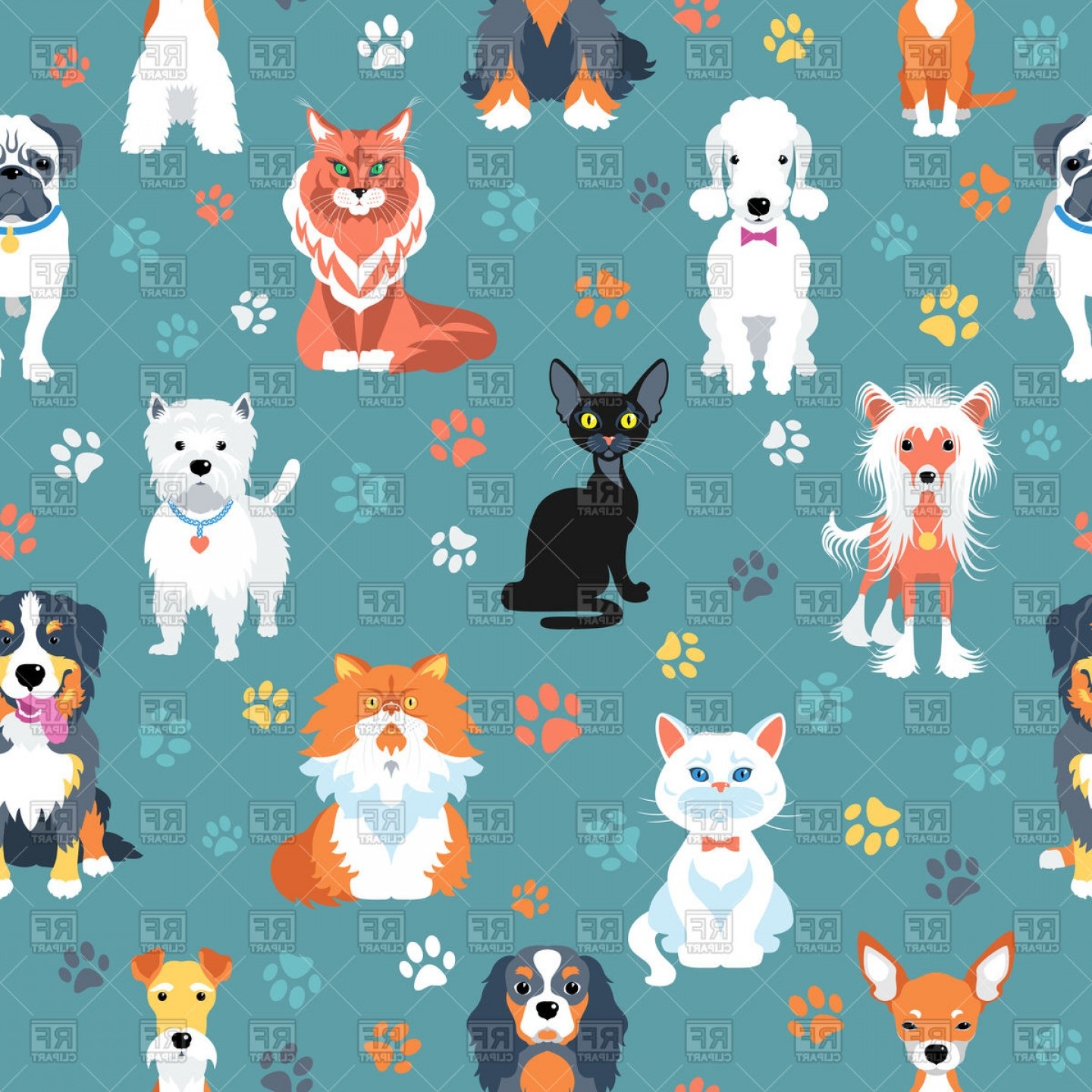 Dog And Cat Vector Illustration: Seamless Background With Cats And Dogs Flat Style Vector Clipart