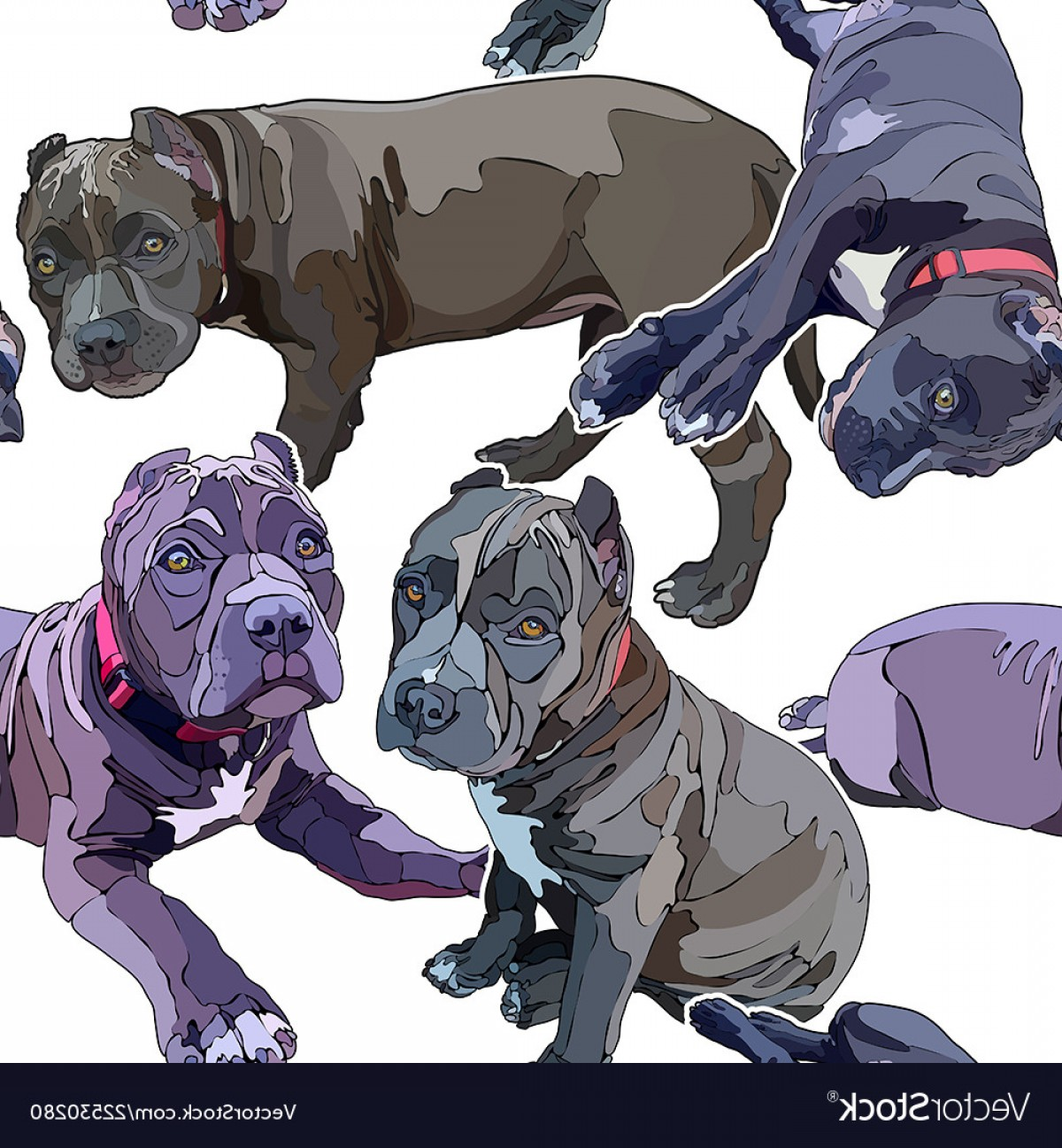 Double Boxer Dog Vector: Seamless Background With Pitbulls Vector