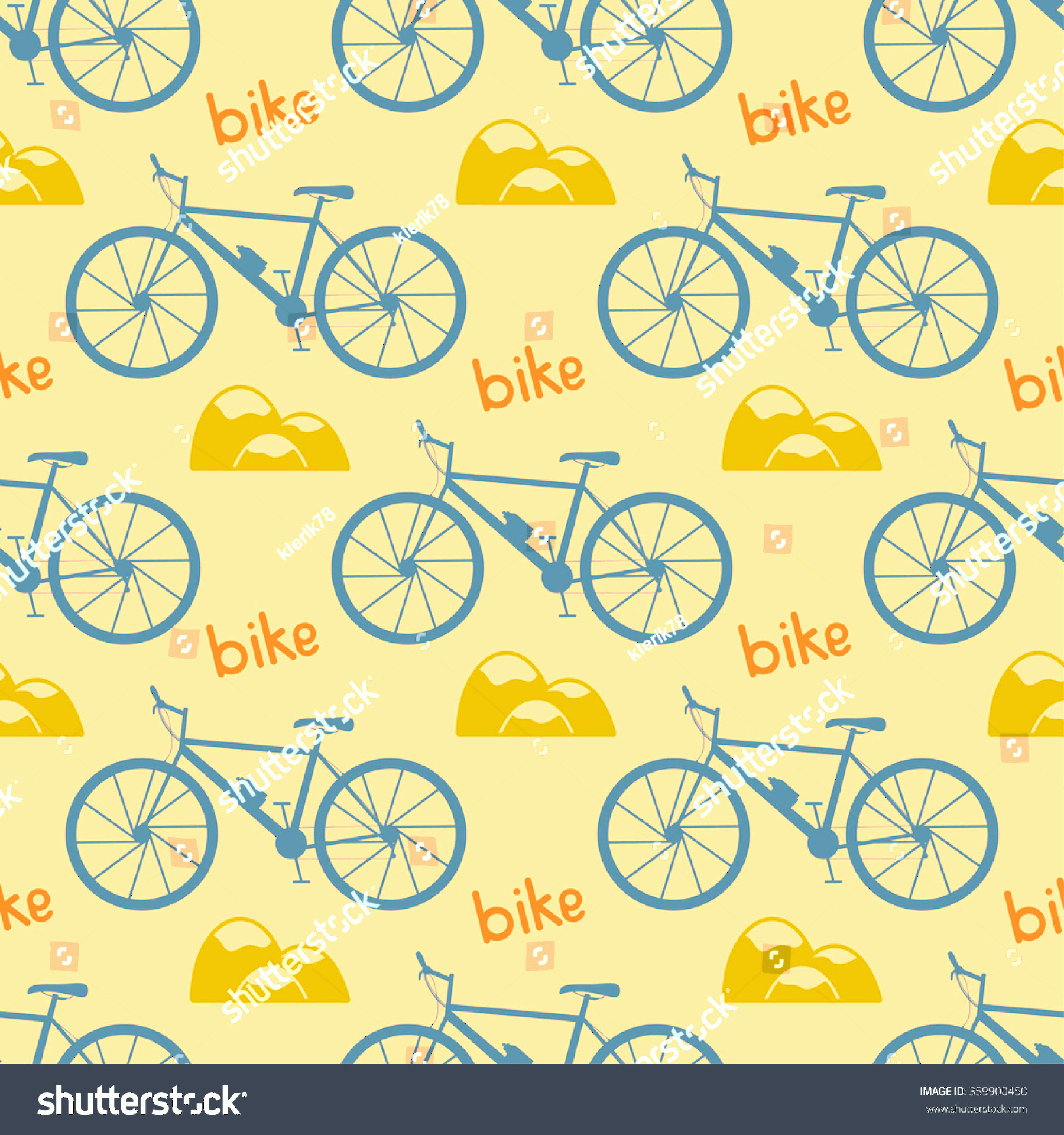 Bicycle Vector Artwork Of Patterns: Seamless Bicycle Pattern Mountain Bike Vector