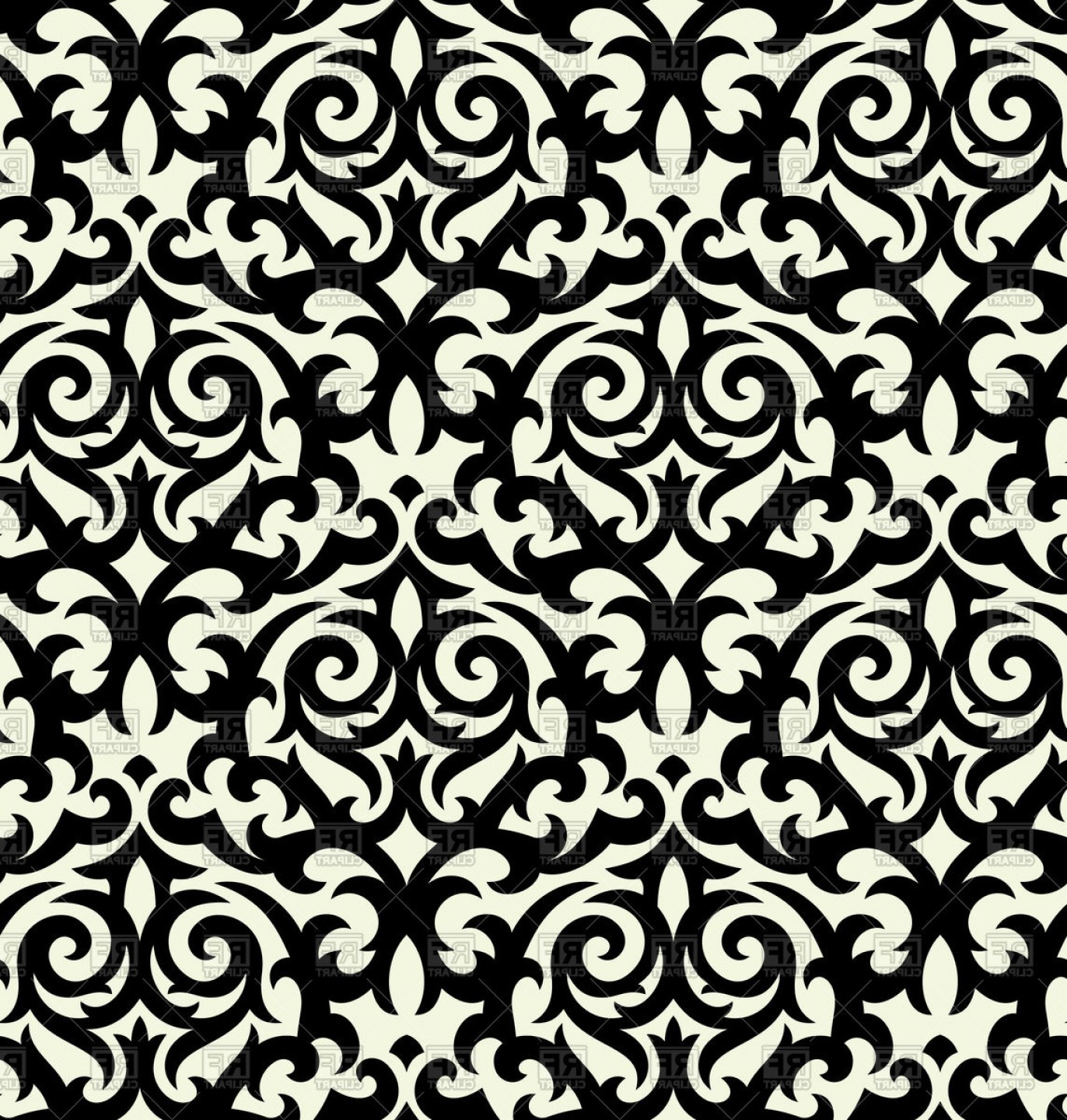 Damask Background Vector Art: Seamless Black Damask Background Vector Clipart