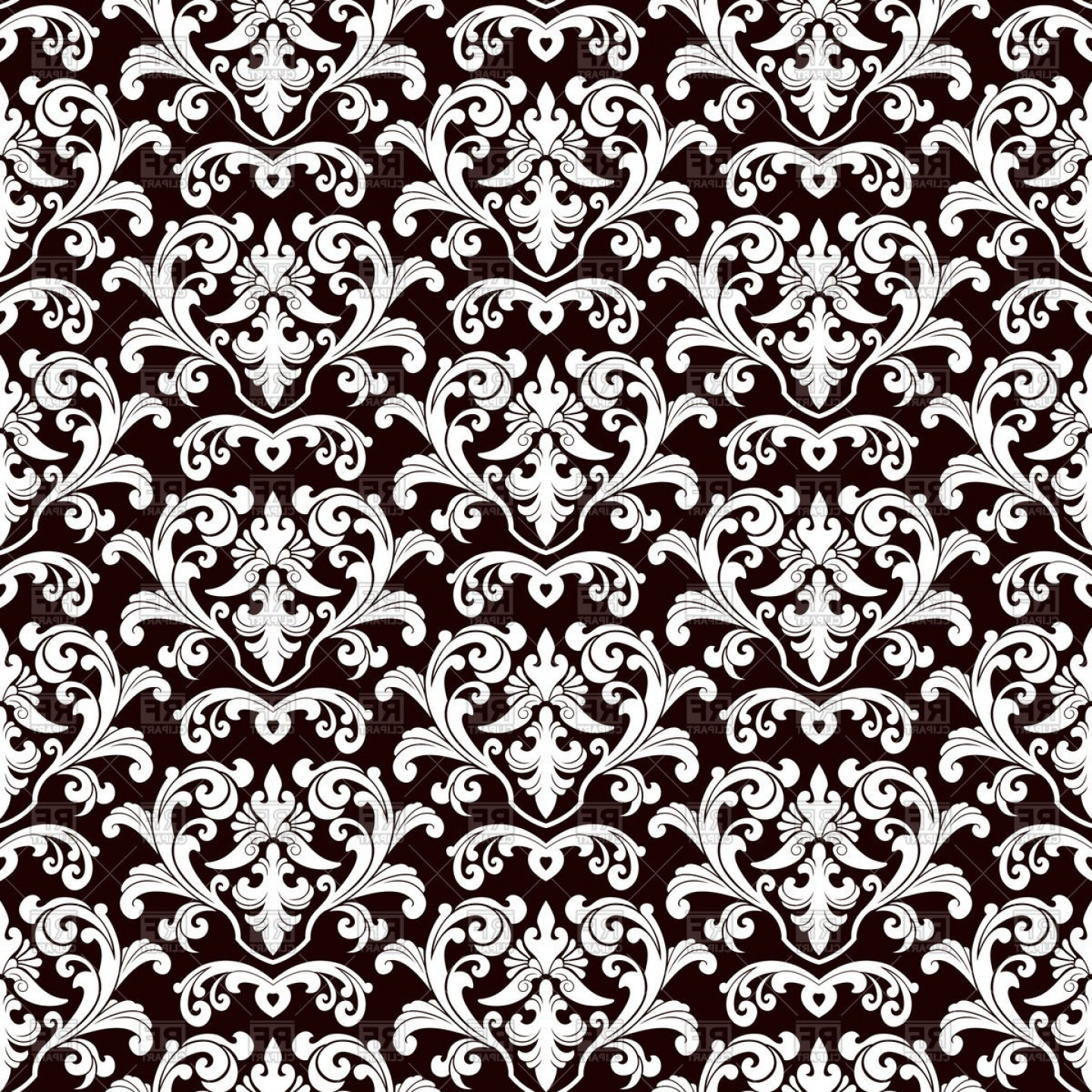 Damask Background Vector Art: Seamless Black Damask Pattern Vector Clipart