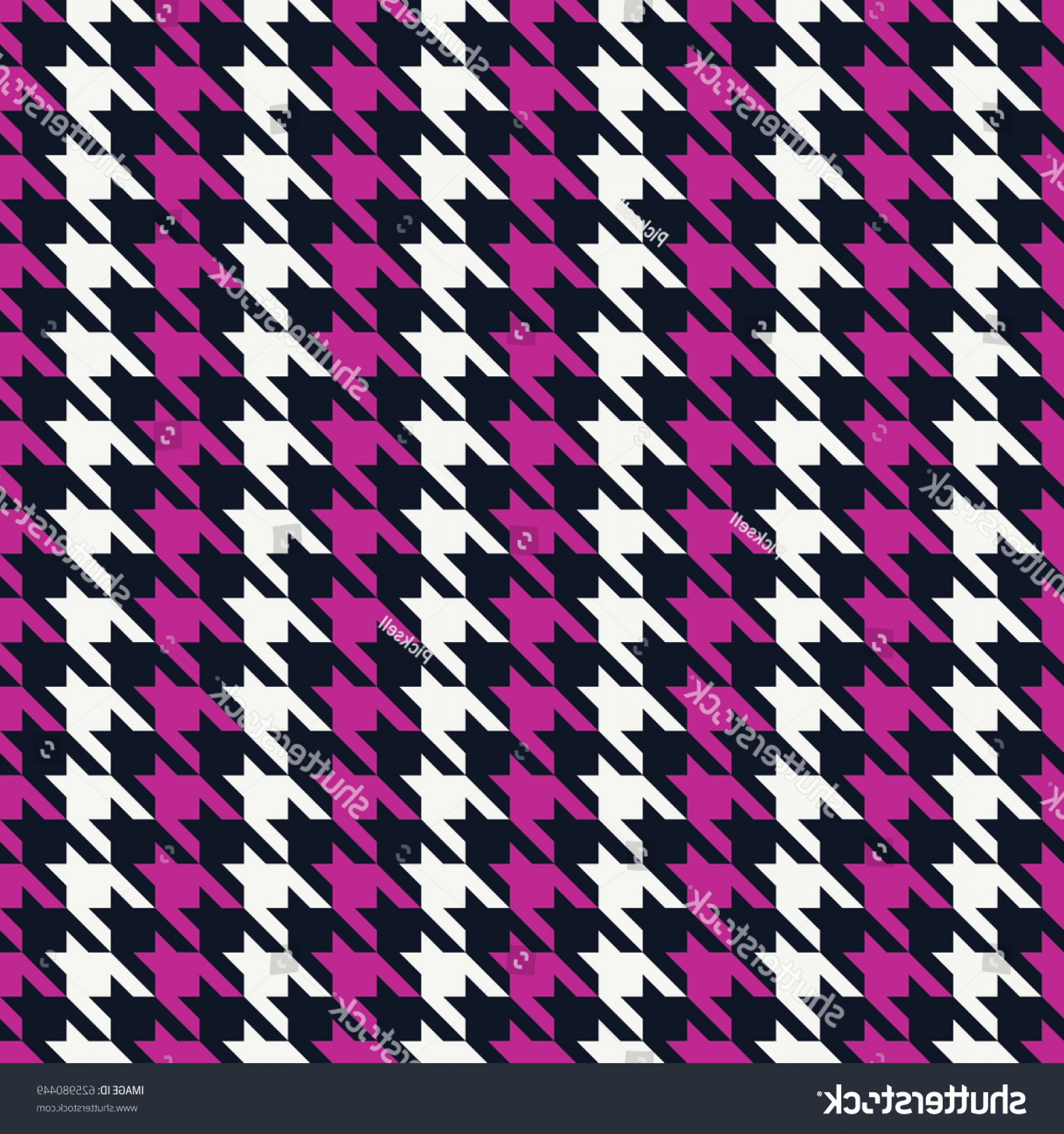 Pink And Black Houndstooth Vector: Seamless Black Magenta Pink White Classic