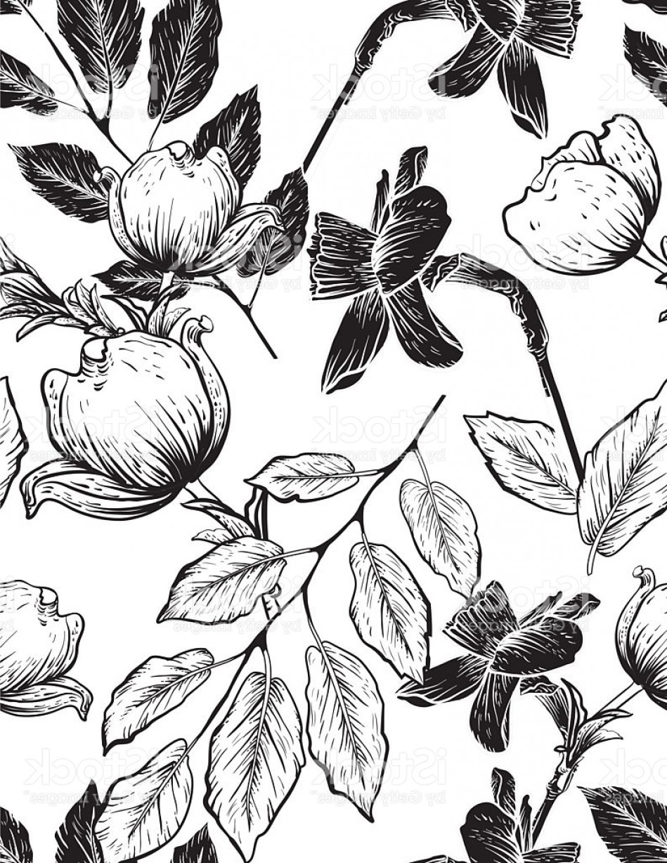 Botanical Flower Vectors: Seamless Botanical Floral Pattern Dogwood And Daffodils Gm