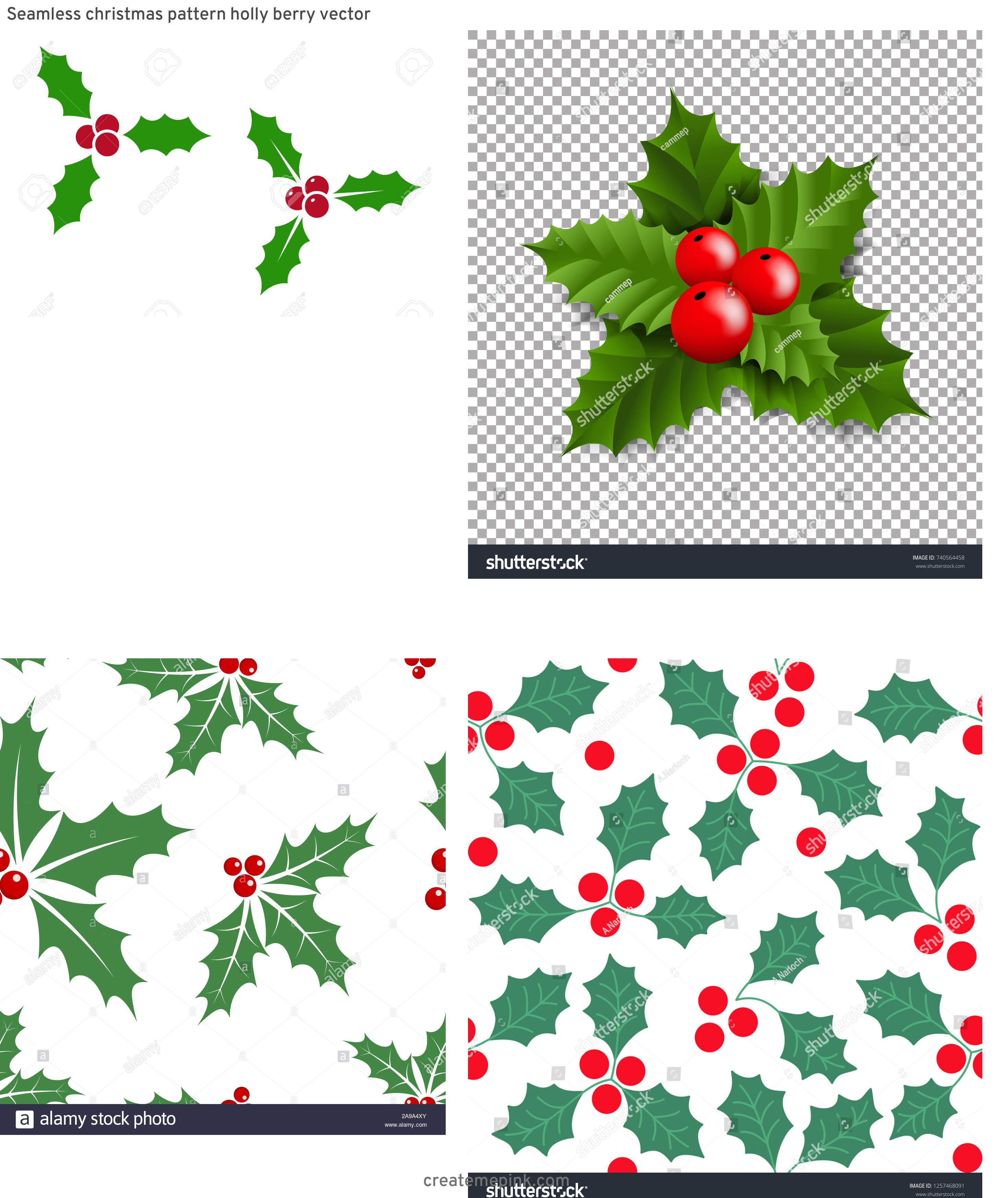 Holly Berry Vector Background: Seamless Christmas Pattern Holly Berry Vector